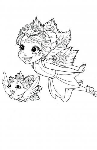 Новая раскраска Энчантималс девочка павлин и её питомец ...