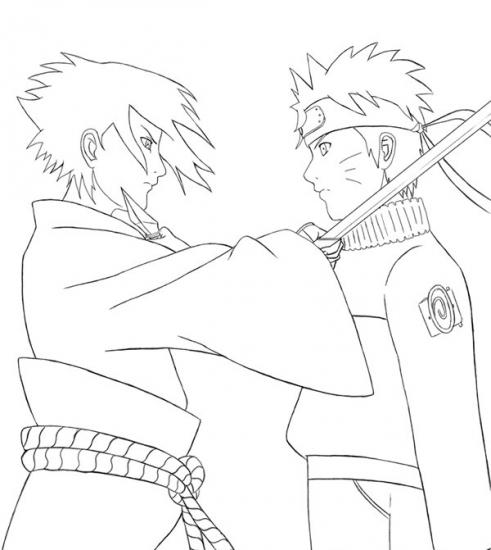 Раскраска Наруто: Саске против Наруто - Раскраски Наруто ...
