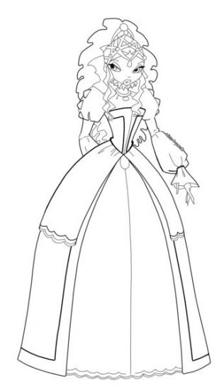 Раскраска Аиша Винкс в придворном платье - Лейла ...