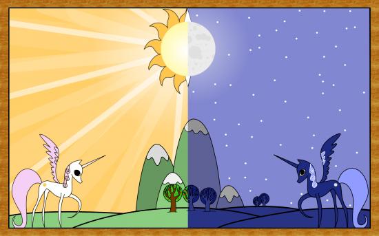 Обои пони селестия и луна