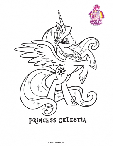 Принцесса Селестия кристальная пони, раскраска