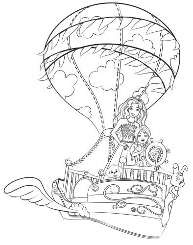 Раскраска для девочек - Барби и волшебный корабль из ...