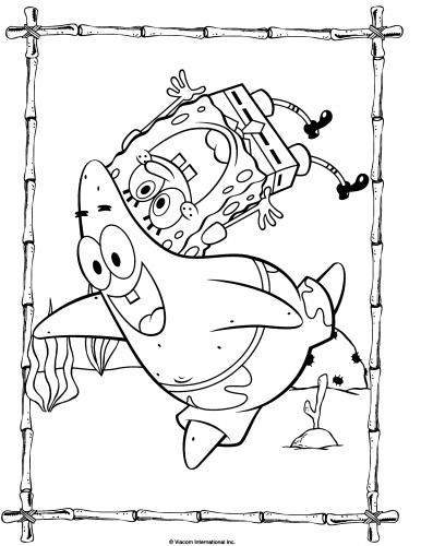 Раскраска Губка Боб и Патрик веселятся - Раскраски Губка ...