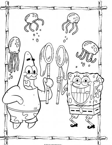 Раскраска Губка Боб и Патрик ловят медуз - Раскраски Губка ...