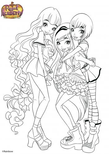 Раскраски для девочек королевская академия распечатать