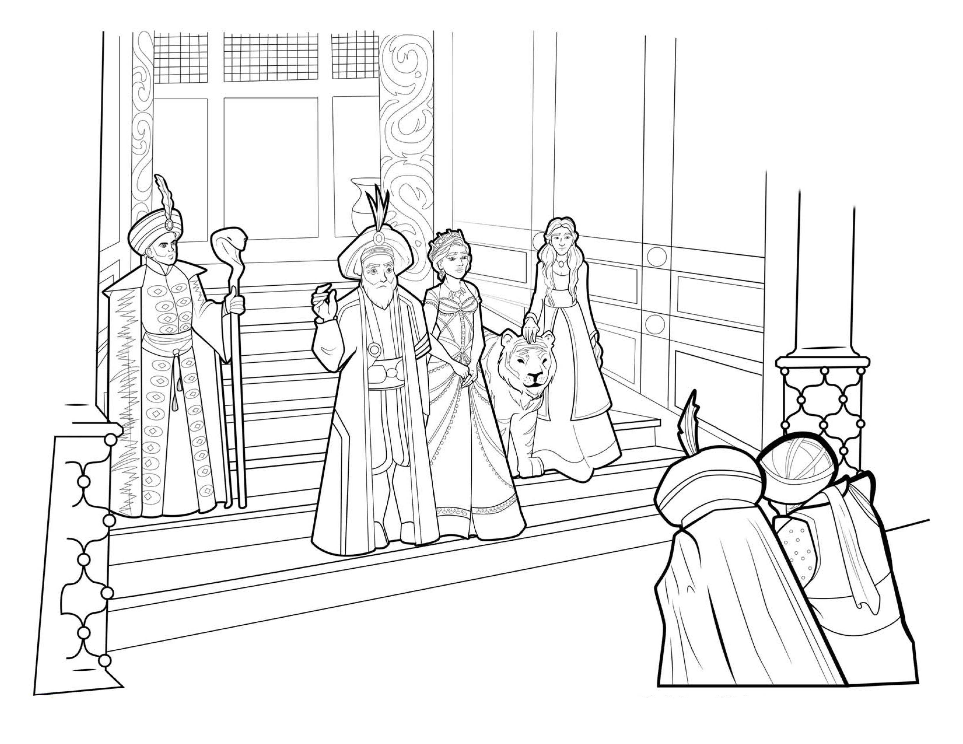 Раскраска картинка по фильму Аладдин - сцена во дворце ...