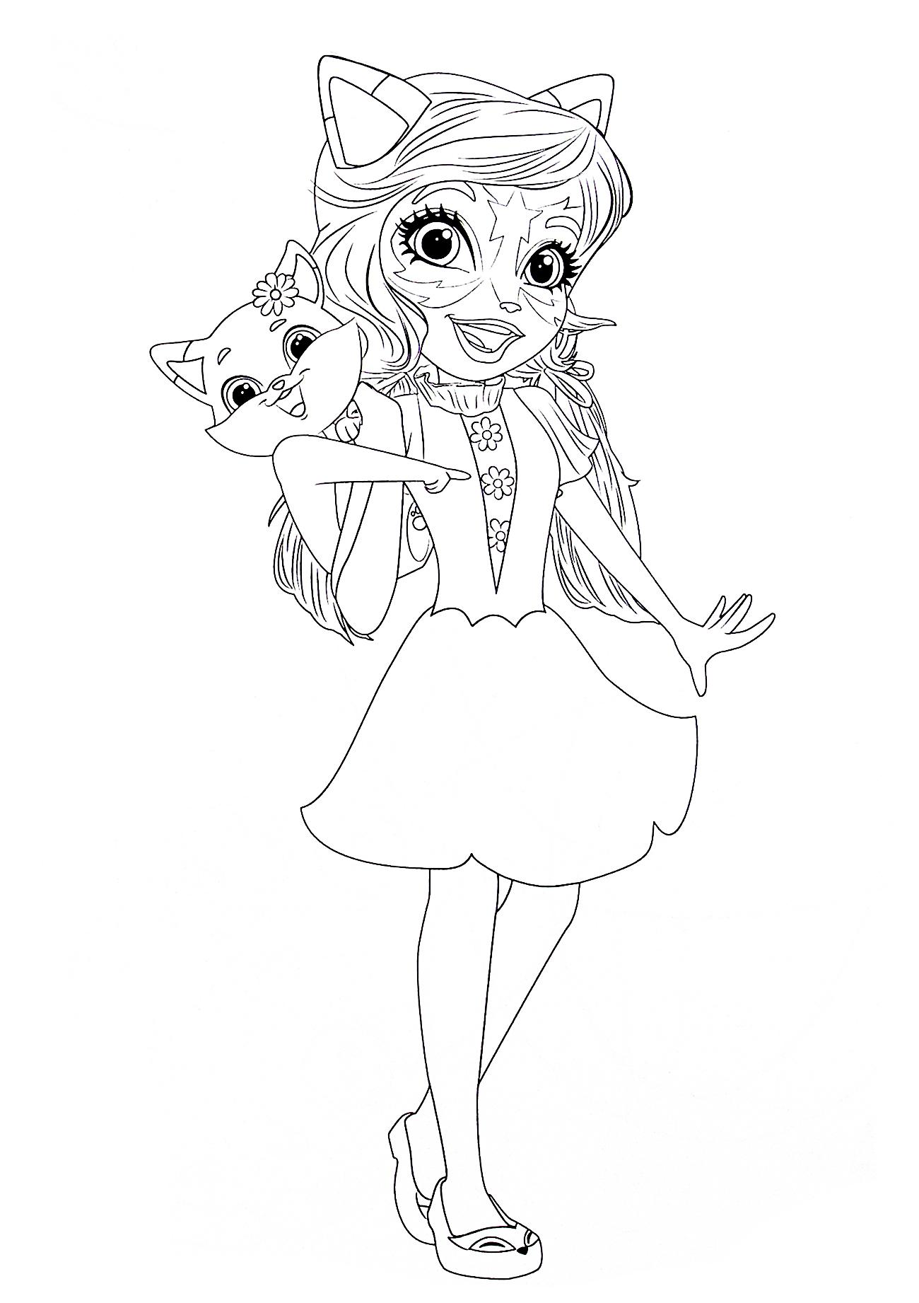 Картинка Раскраска Энчантималс с Фелисити Лис и её ...