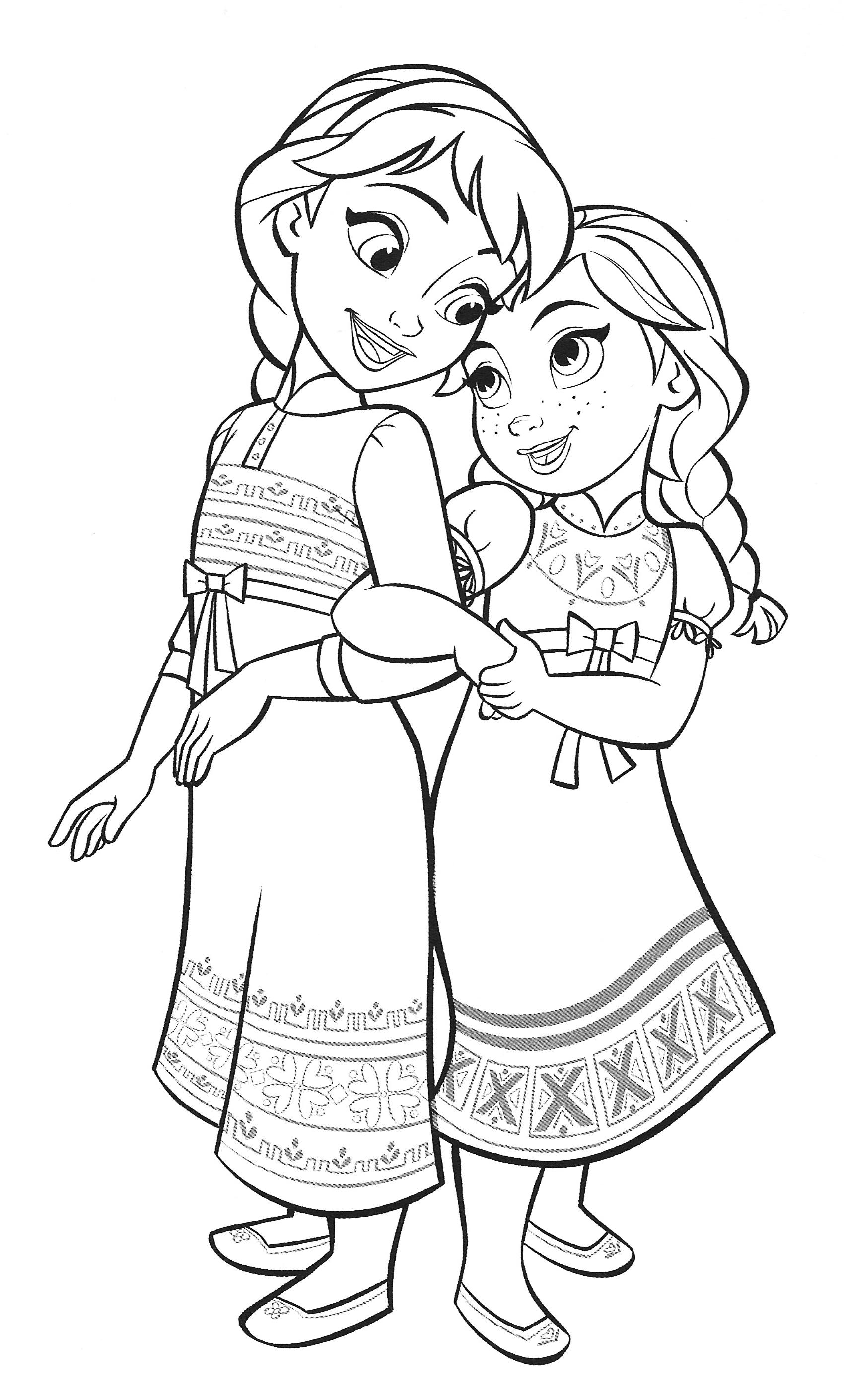 Раскраска Холодное Сердце 2 Анна и Эльза в детстве ...