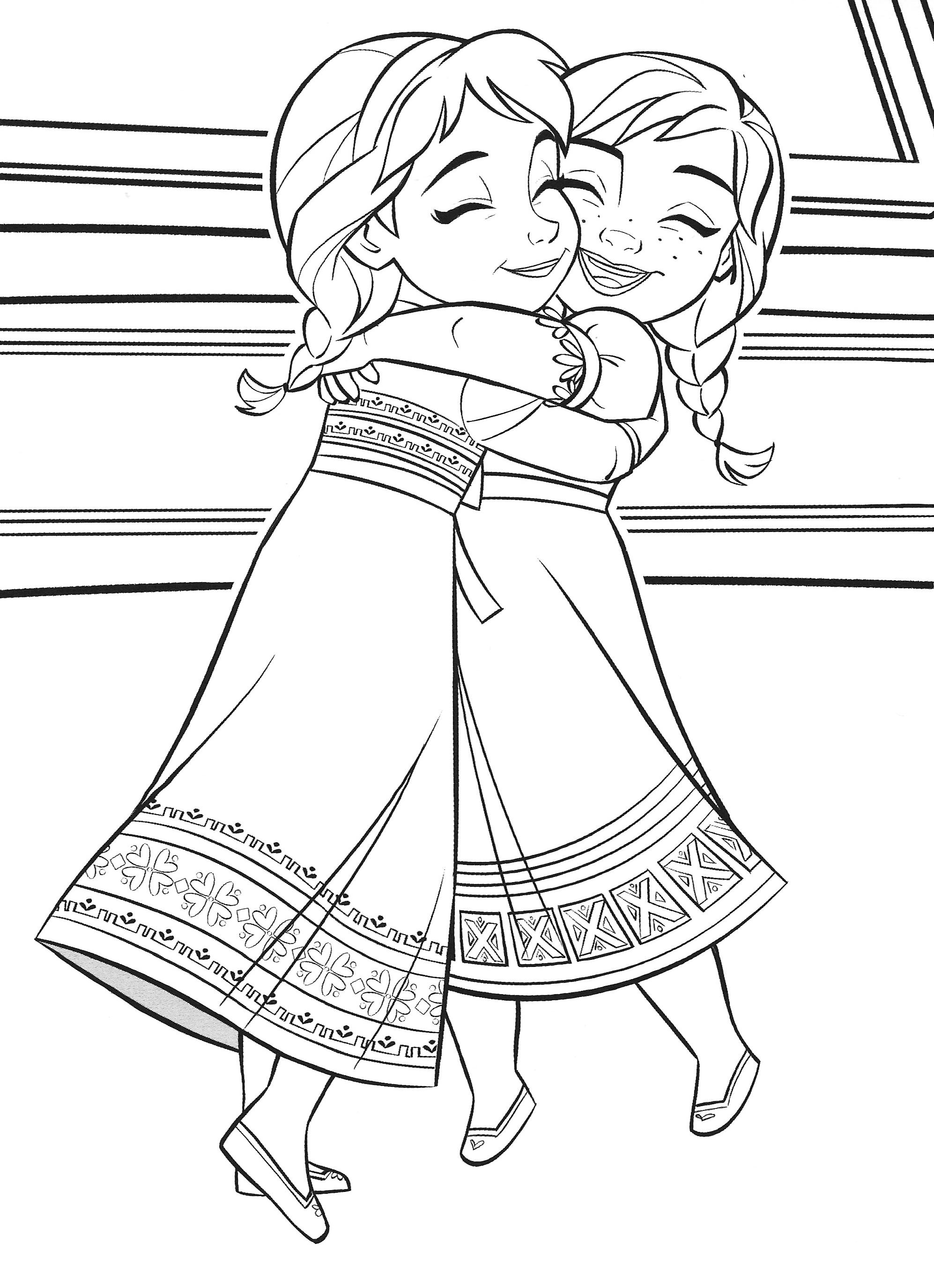 Раскраска Холодное Сердце 2 маленькие Эльза и Анна ...