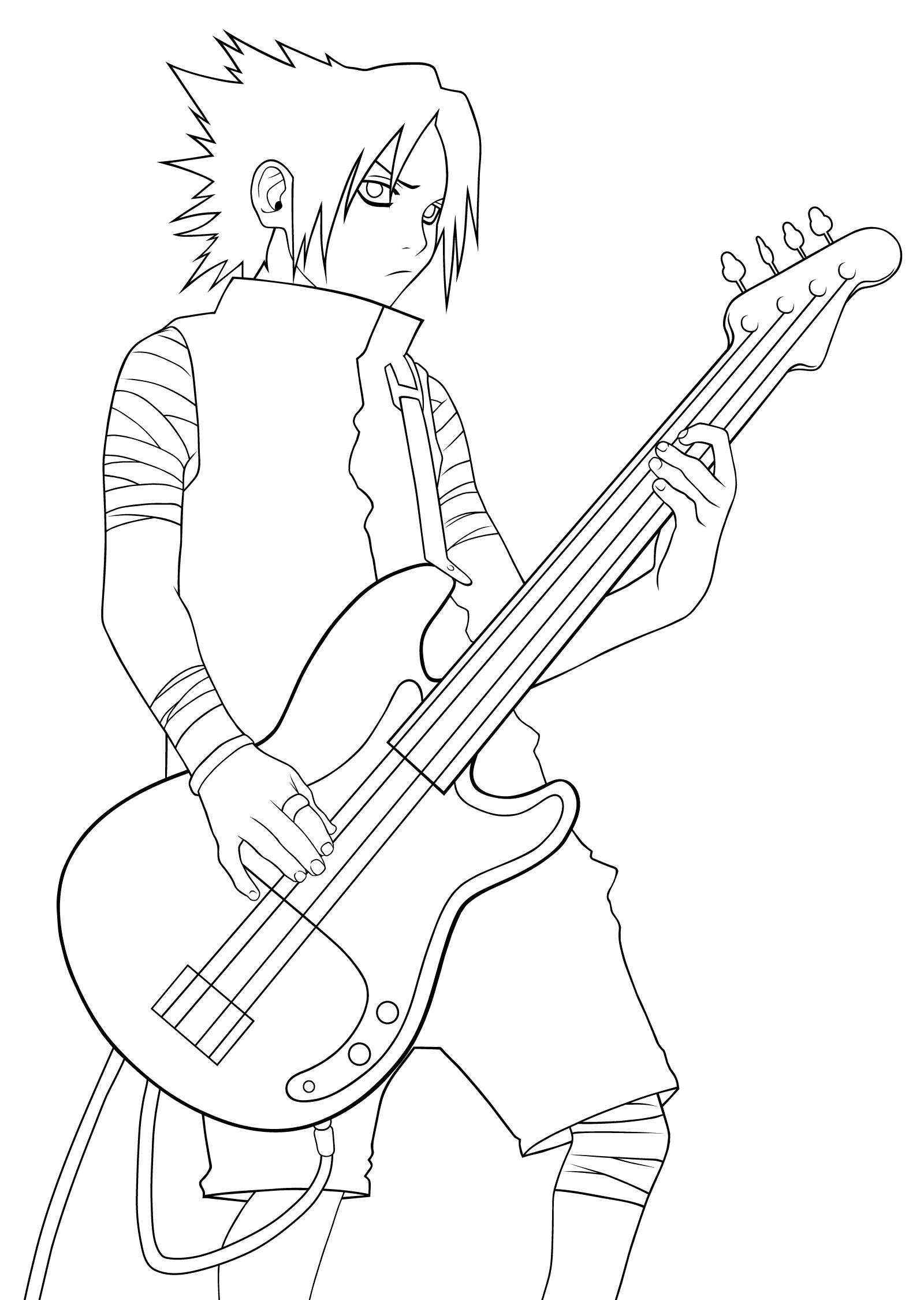 Раскраска Наруто: Саске с гитарой - Раскраски Наруто ...