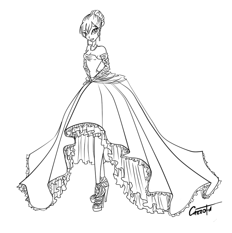 аниме раскраски платье