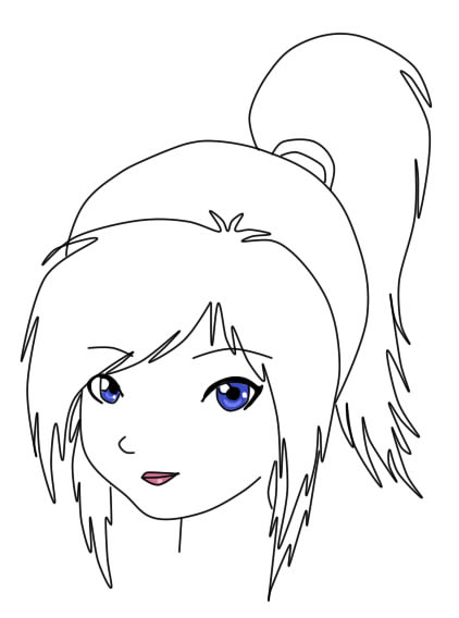 manga girl side face colouring pages