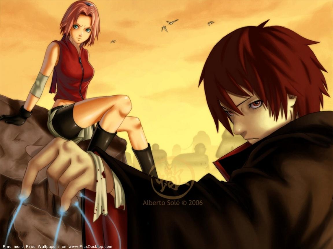 Гаара и Сакура - Картинки с персонажами Наруто - YouLoveIt.