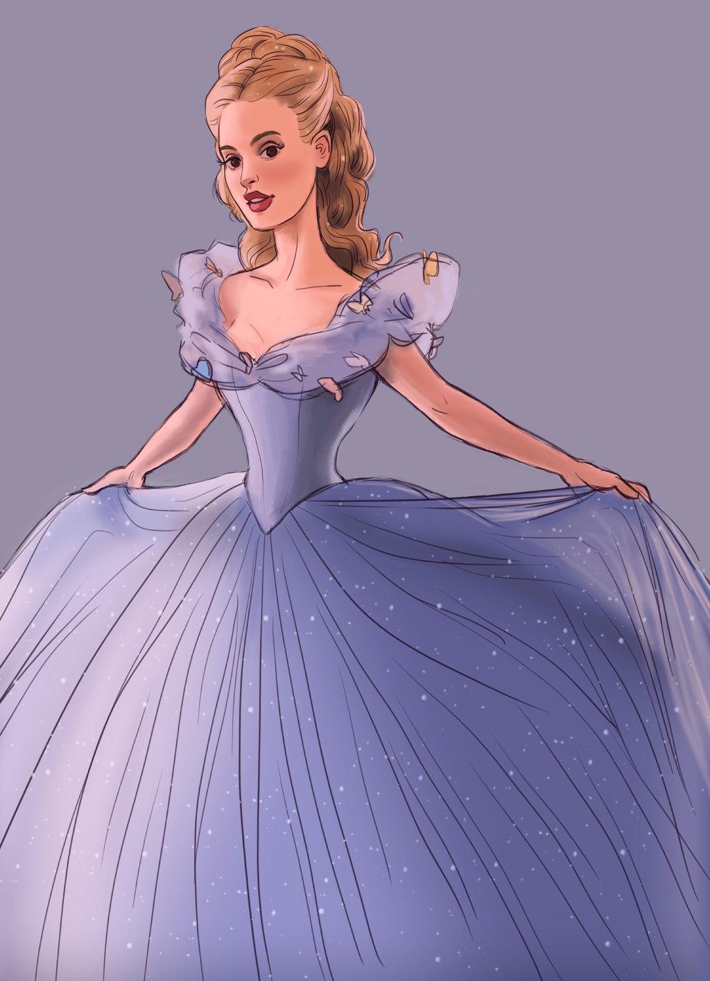 Аниме девушка в бальном платье