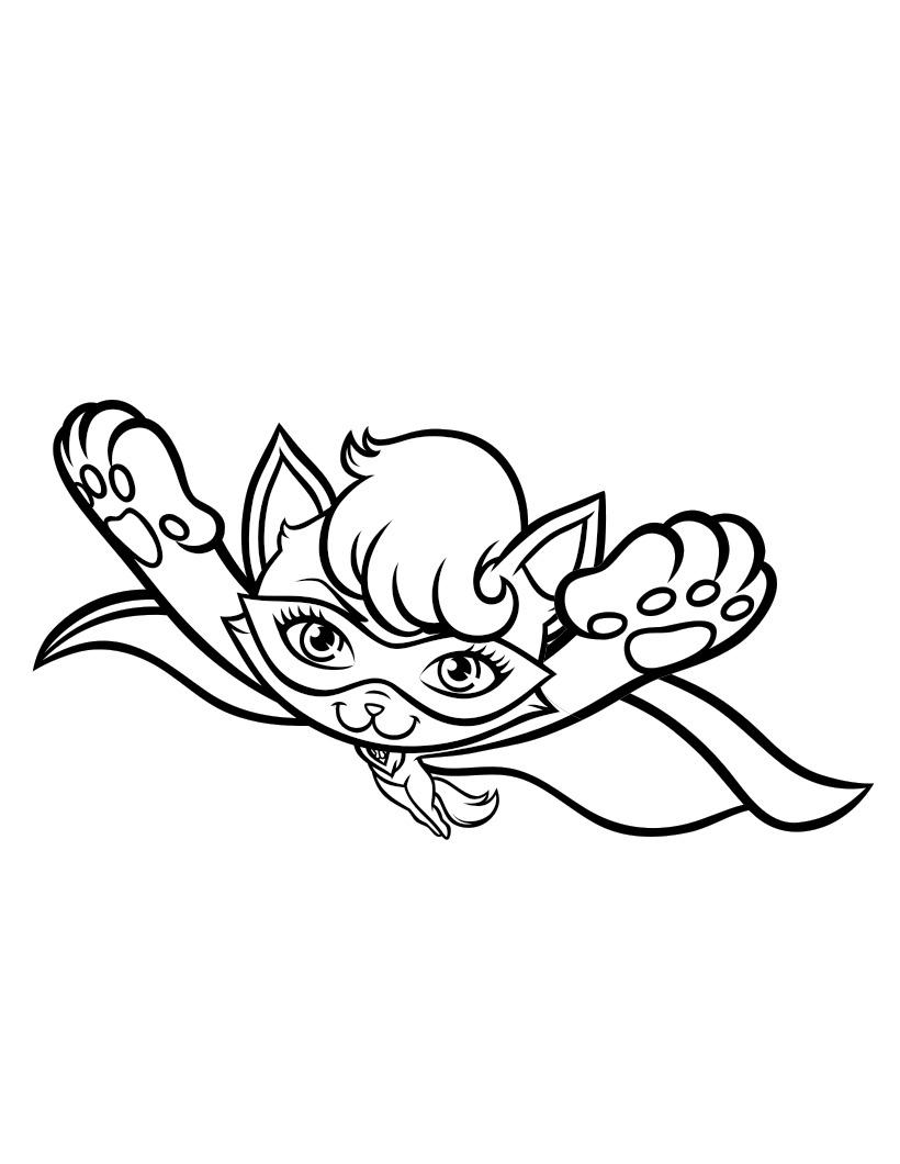 Раскраска Барби Супер Принцесса, супер героическая кошка ...