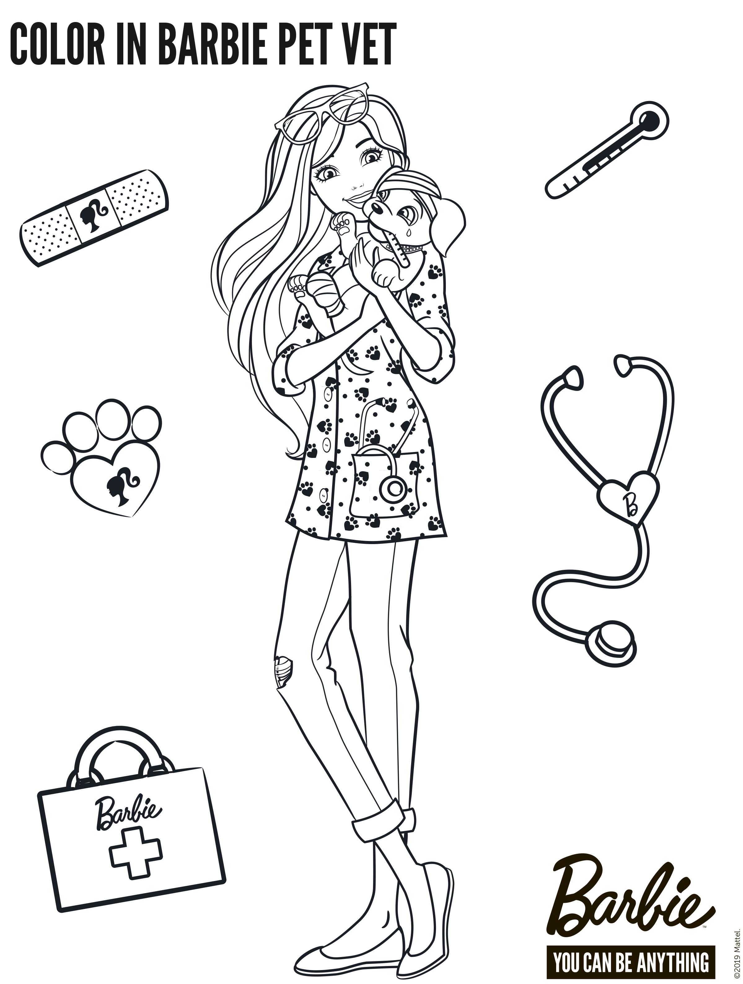 Раскраска Барби ветеринара со щенком - Раскраски Барби ...