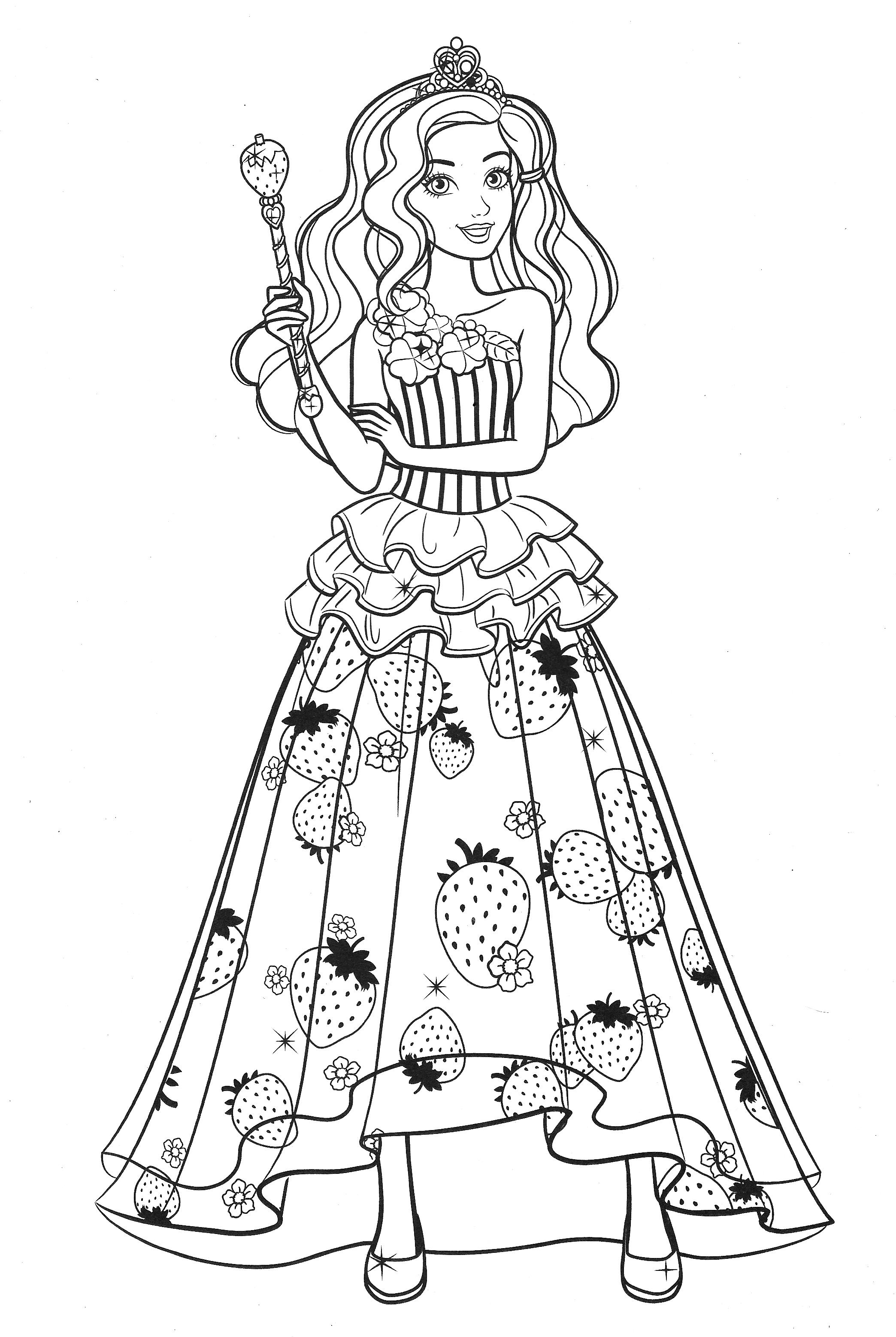 Раскраска Барби принцесса с фруктами на платье - Раскраски ...