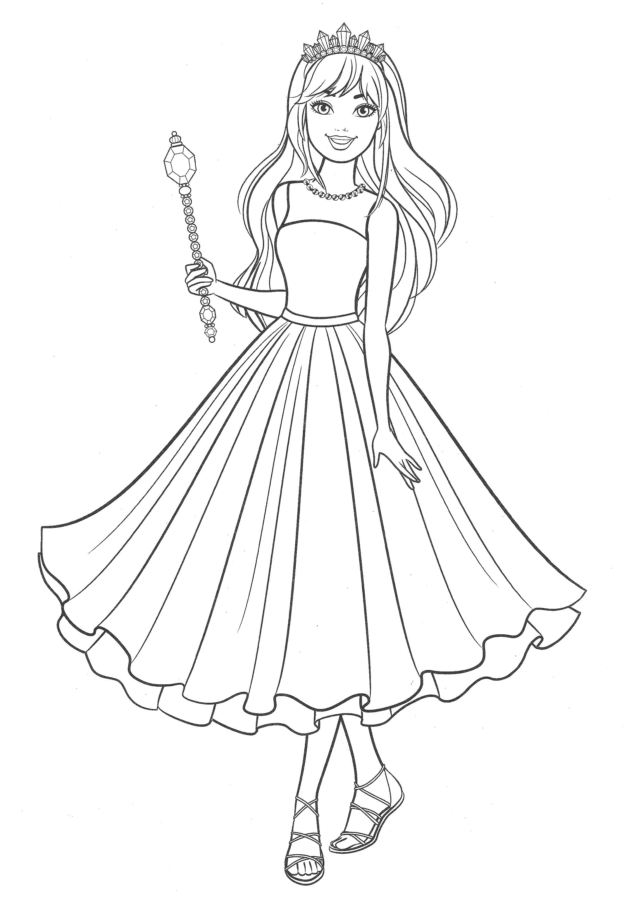 Раскраска Барби в нарядном платье - Раскраски Барби ...