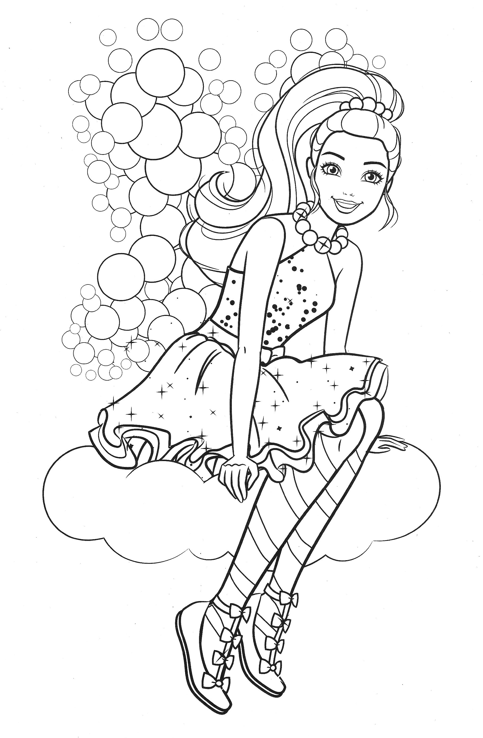 Раскраска Барби в облике феи на облаке - Раскраски Барби ...
