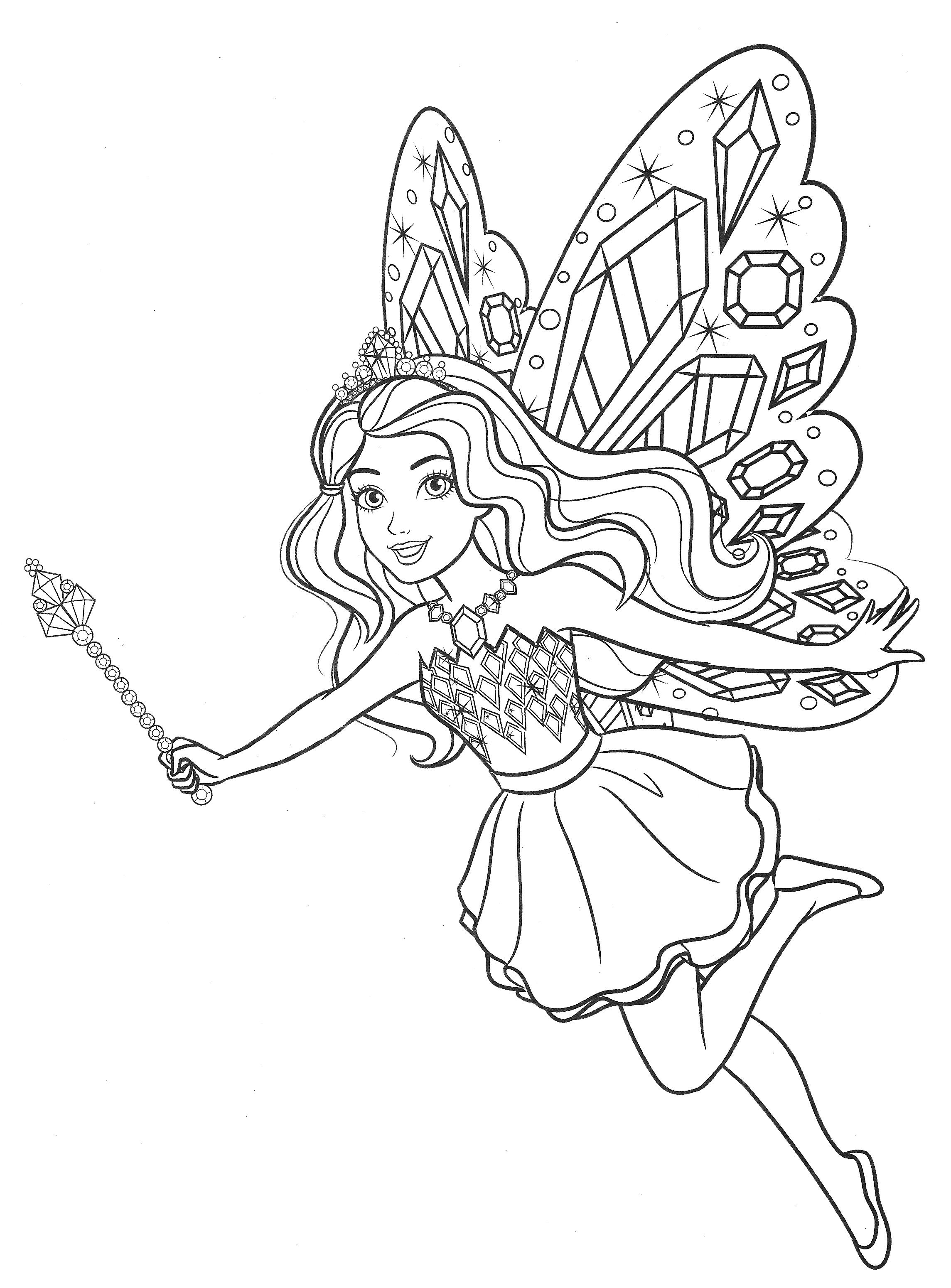 Раскраска Барби фея с крыльями бабочки - Раскраски Барби ...