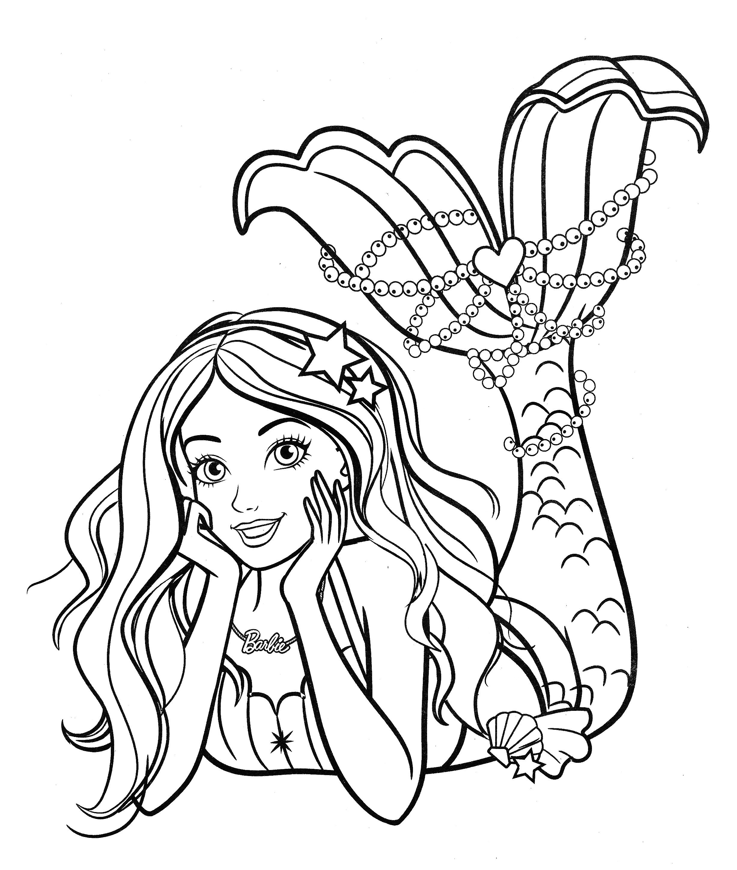 Раскраска Барби русалка с распущенными волосами ...
