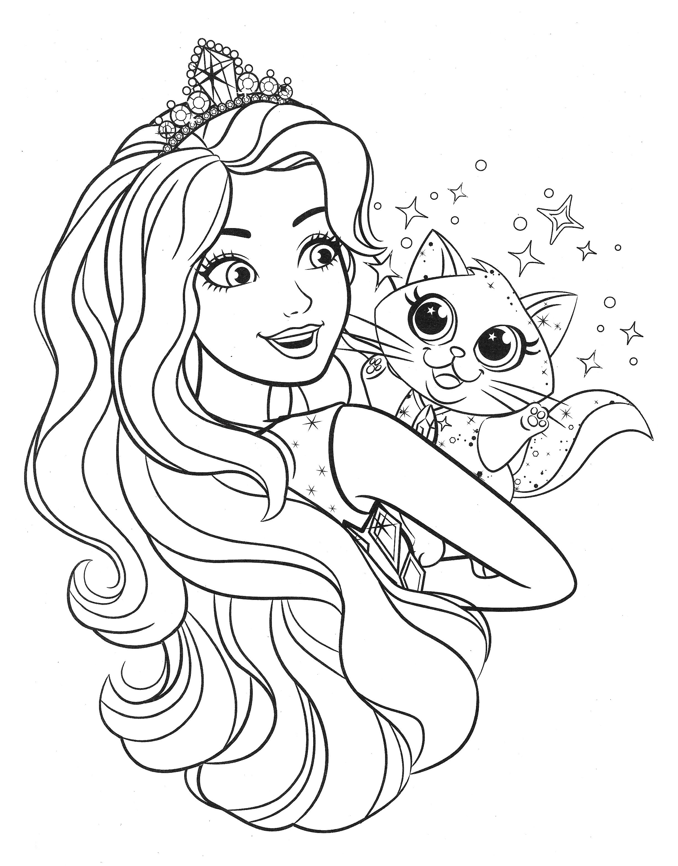Раскраска принцесса Барби и котенок - Раскраски Барби ...