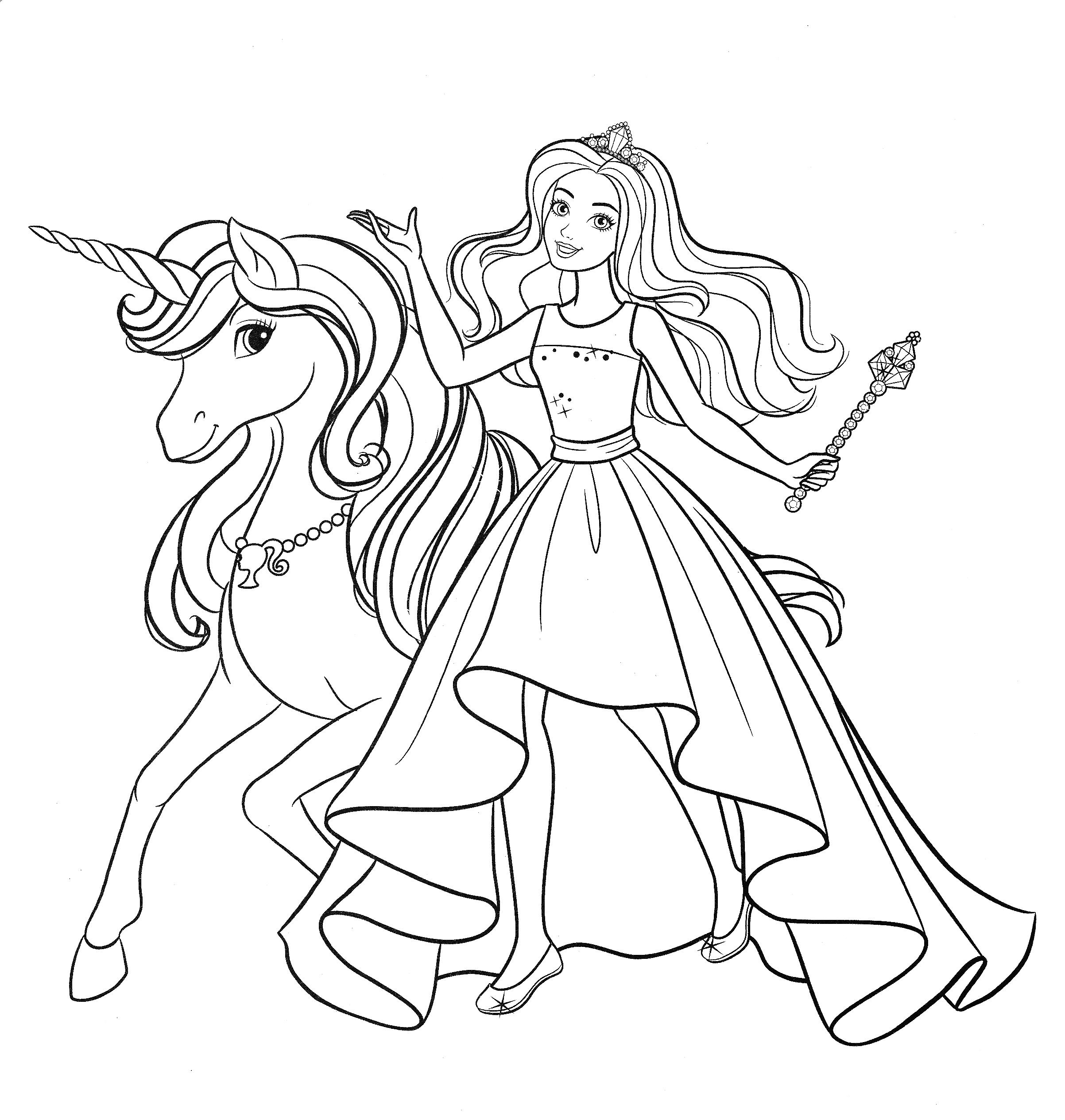Принцесса Барби и волшебный единорог - Раскраски Барби ...