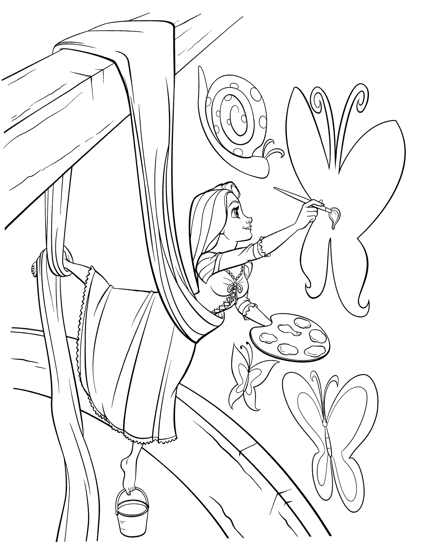 Раскраска для девочек с Рапунцель (запутанная история ...