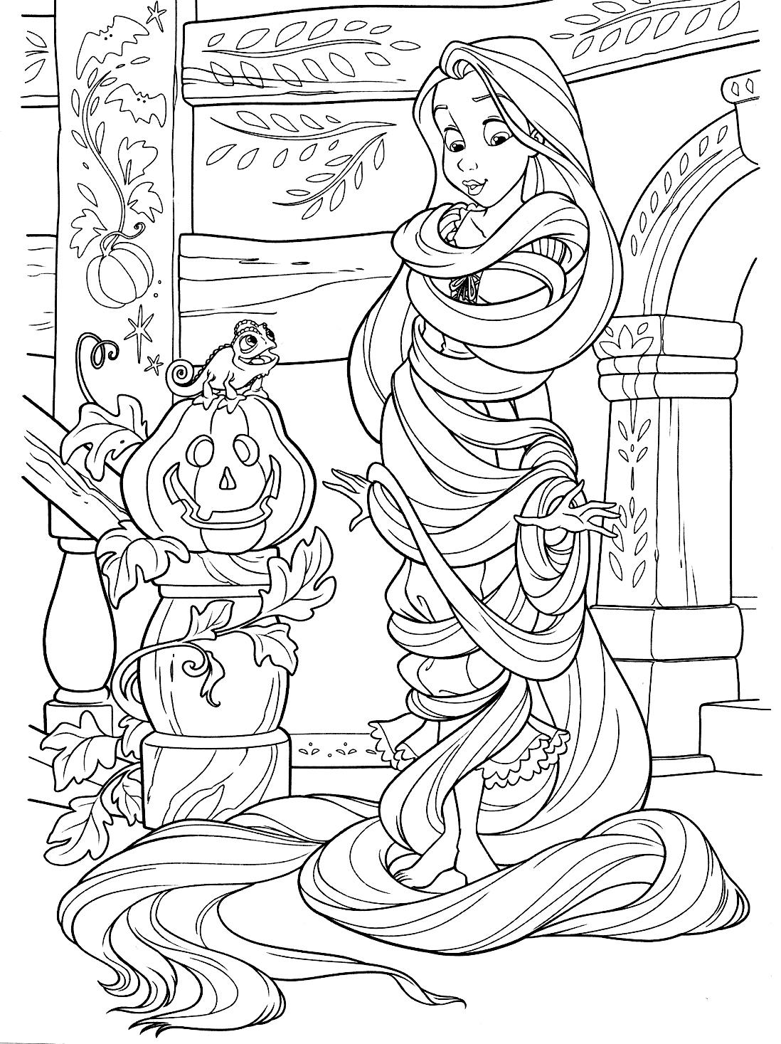Раскраска с Рапунцель на Хэллоуин - Раскраски Рапунцель ...