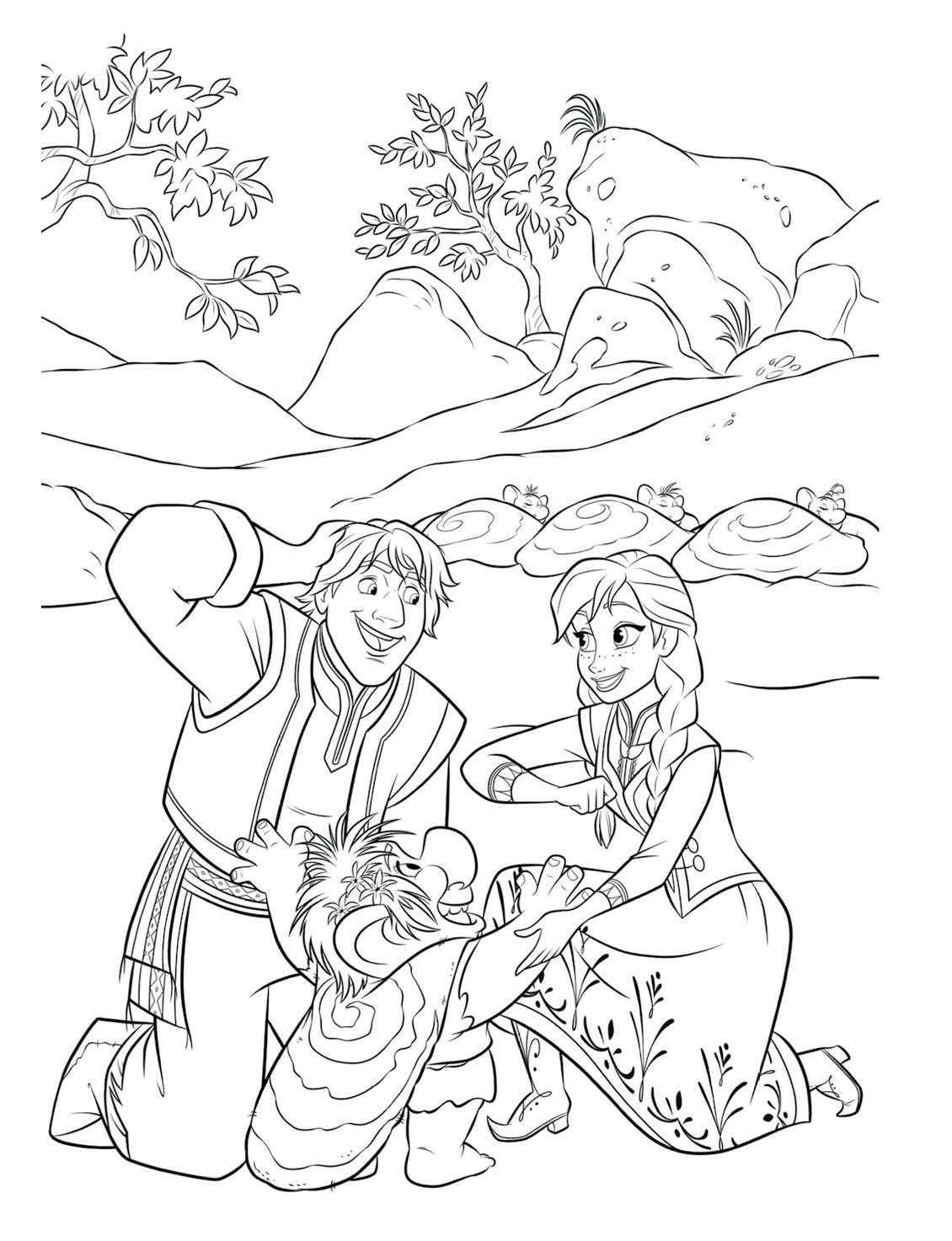 Раскраска принцесса Анна с Кристоффом в гостях у троллей ...