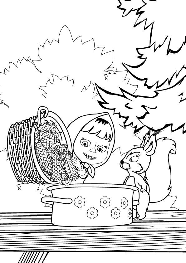 Раскраска Маша и Медведь, Маша с Белкой готовят шишки ...