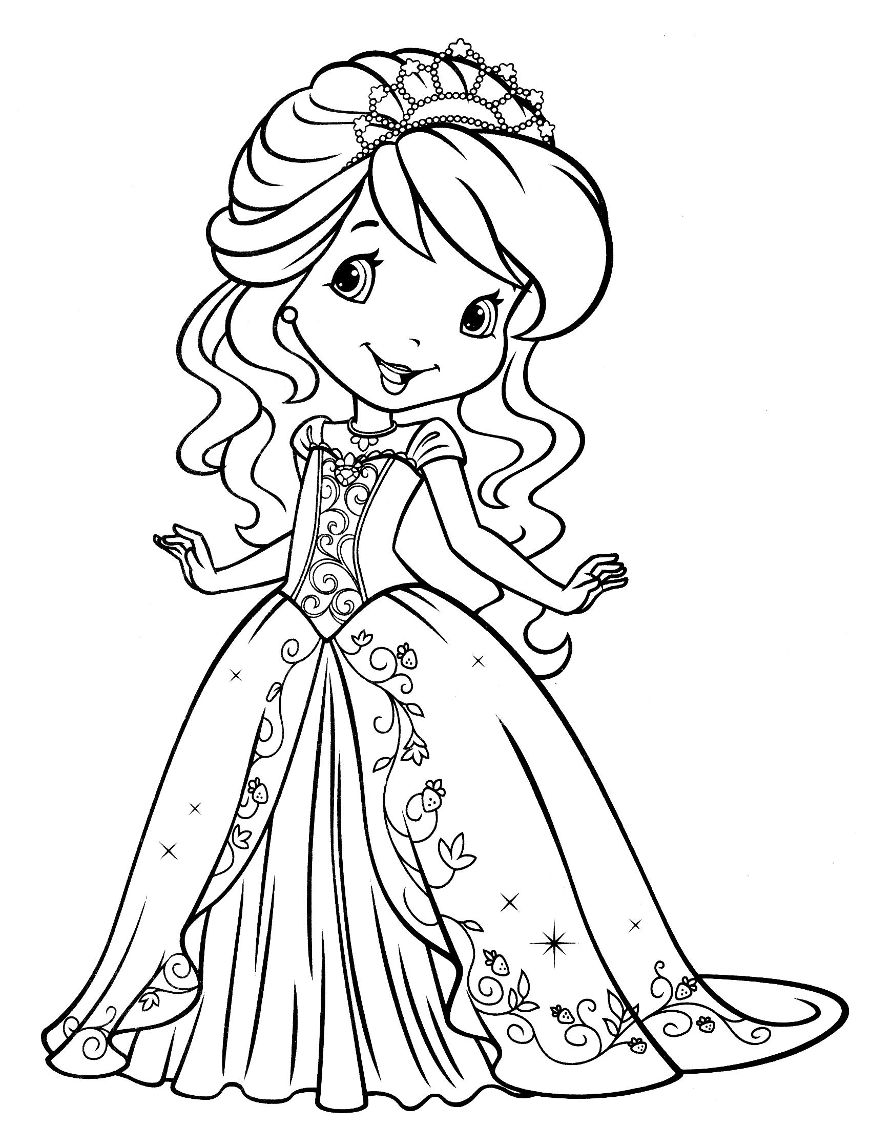 Раскраска принцесса в платье распечатать