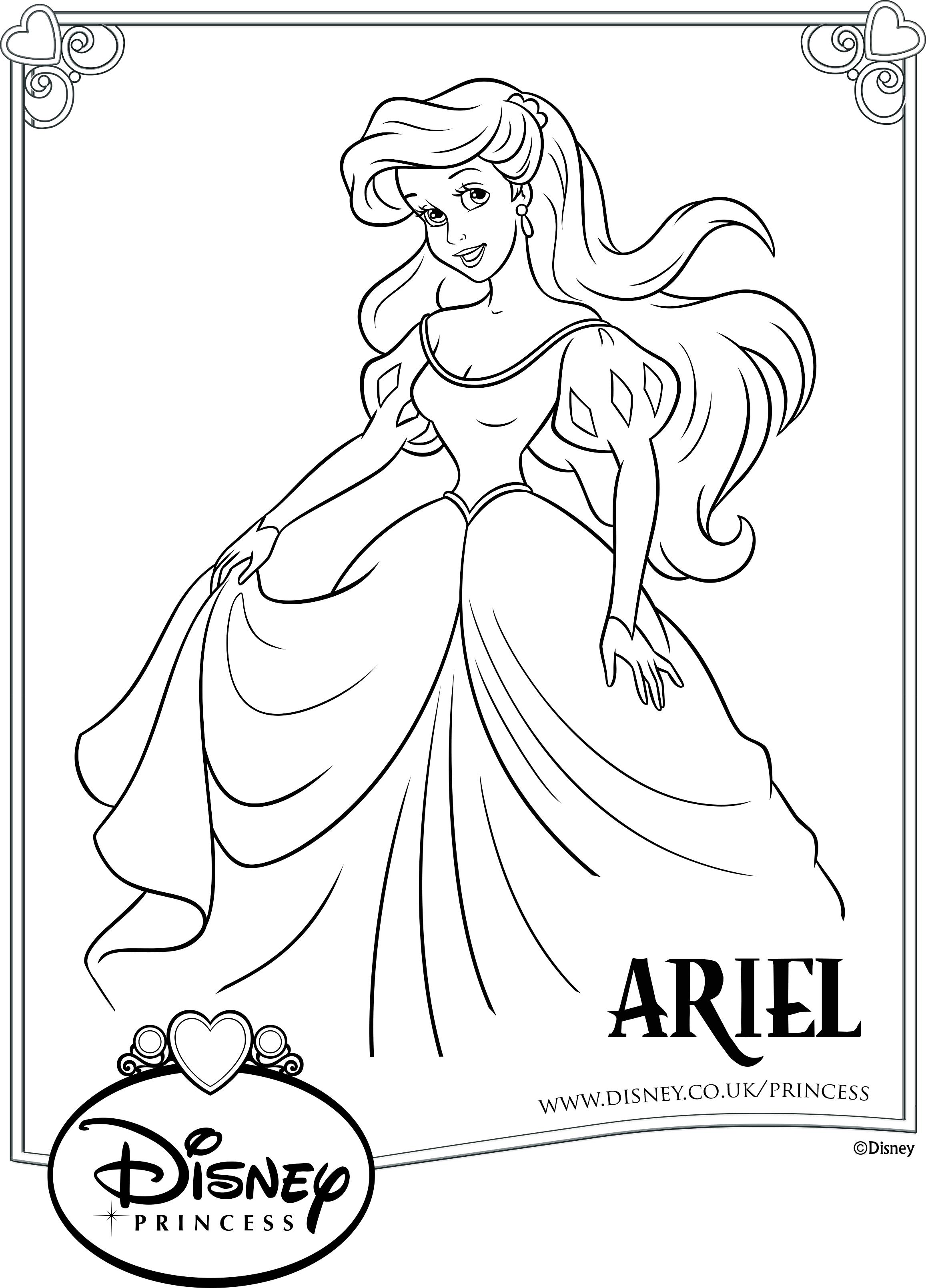 раскраска принцесса ариэль в бальном платье раскраски