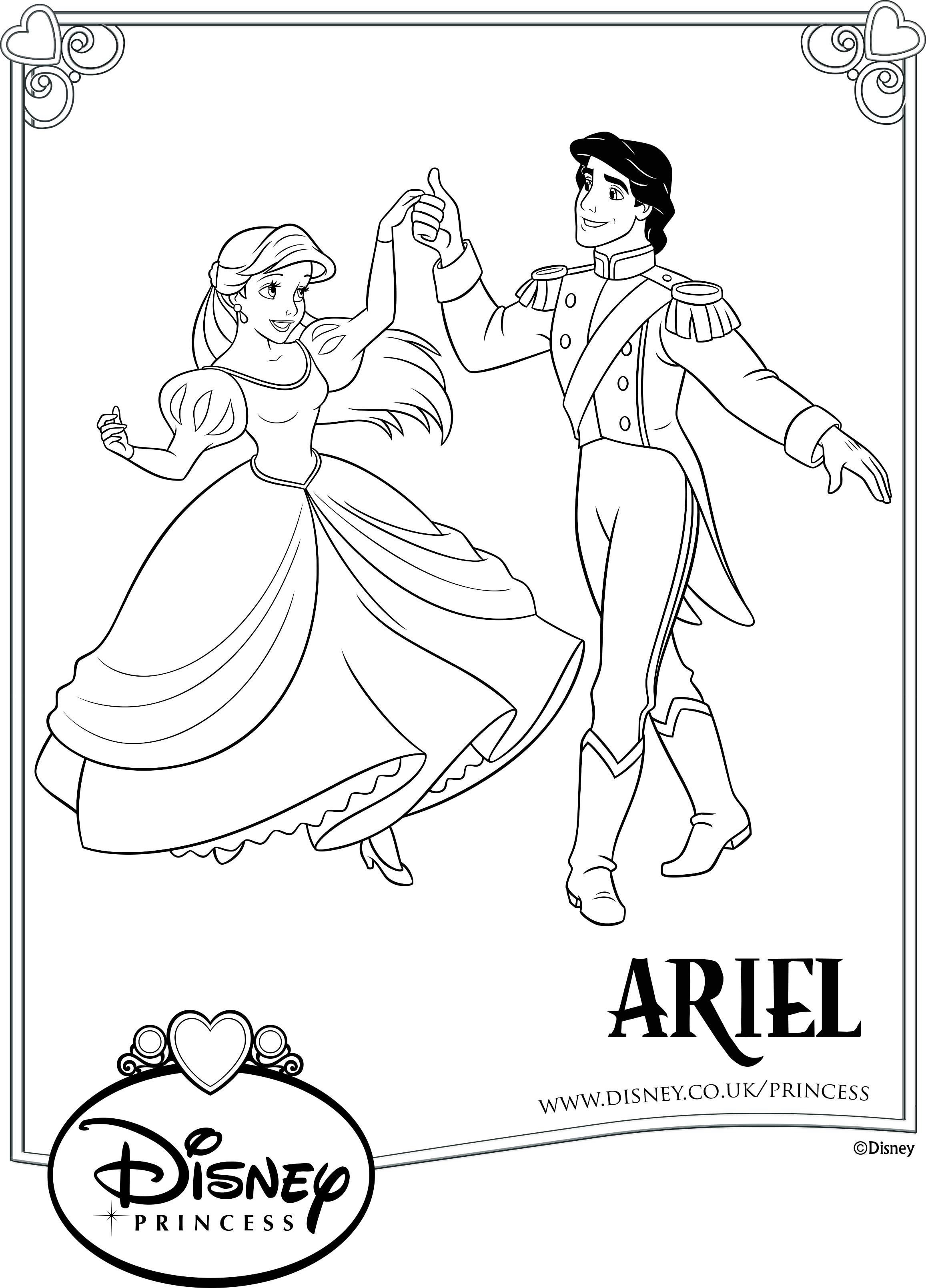 Раскраска Ариэль и Эрик - Раскраски русалочки Ариэль ...