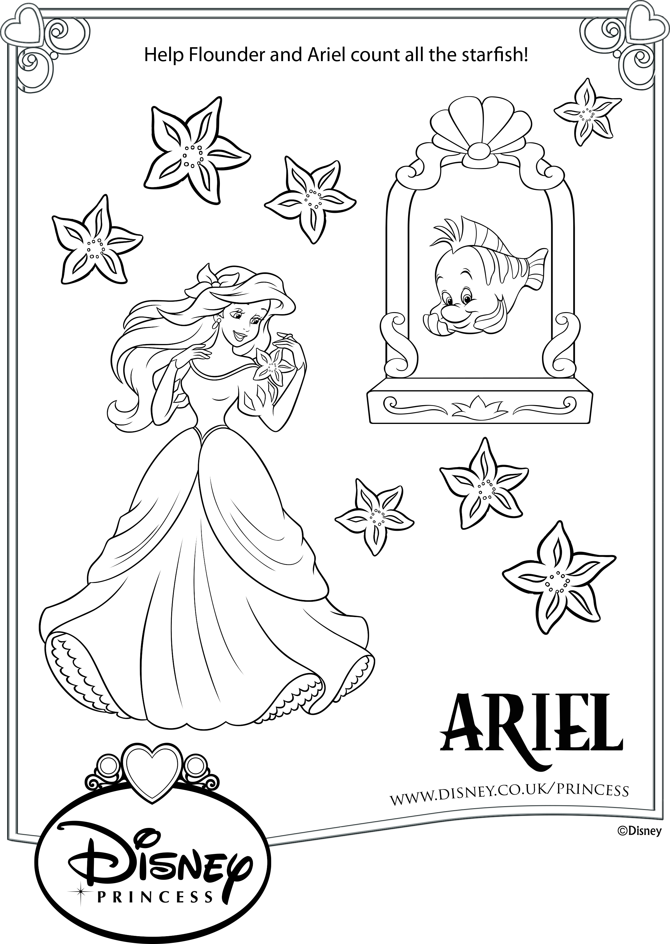 Раскраска принцесса Ариэль - Раскраски русалочки Ариэль ...