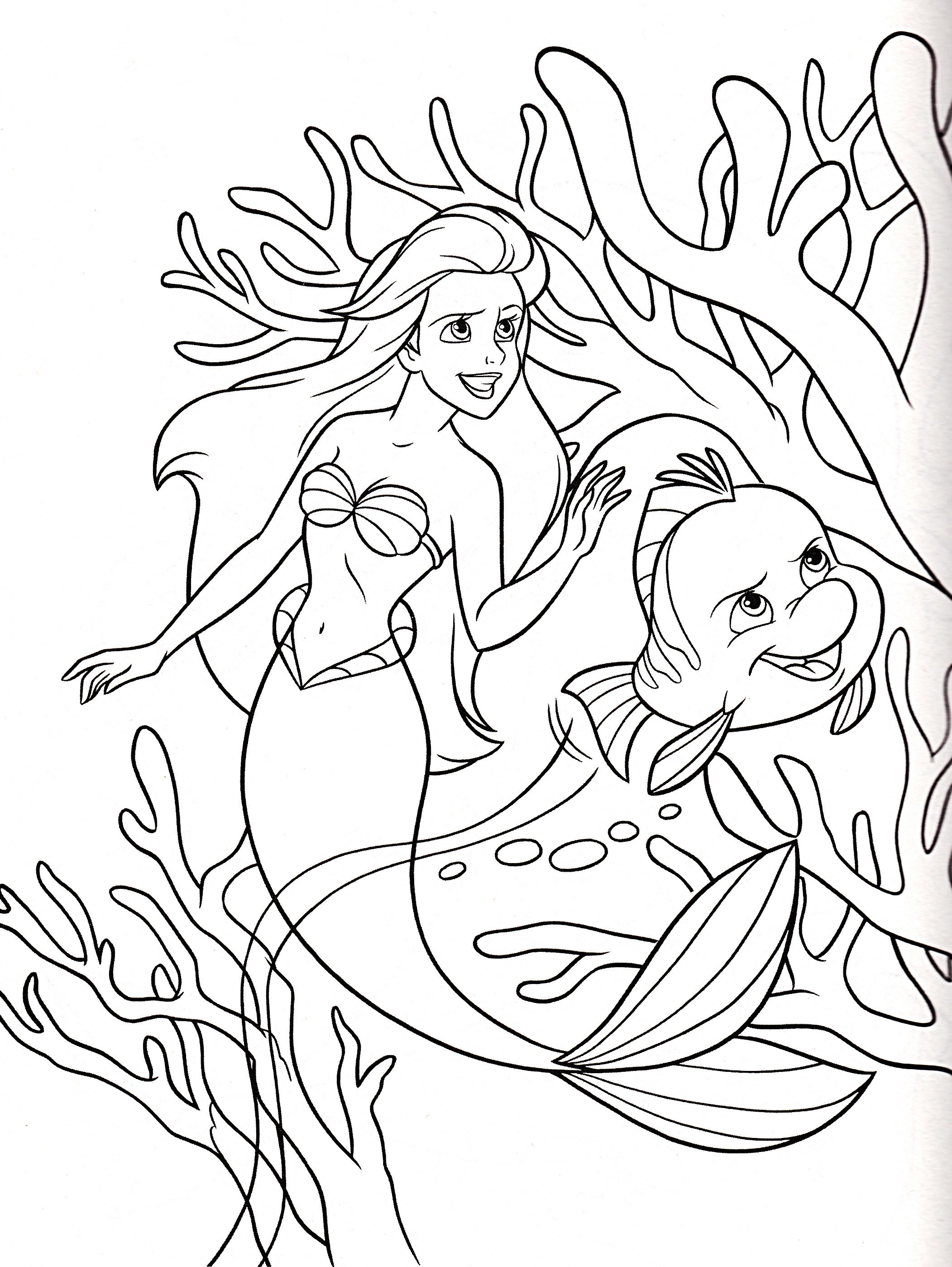Раскраска маленькая русалочка Ариэль и Флаундер ...