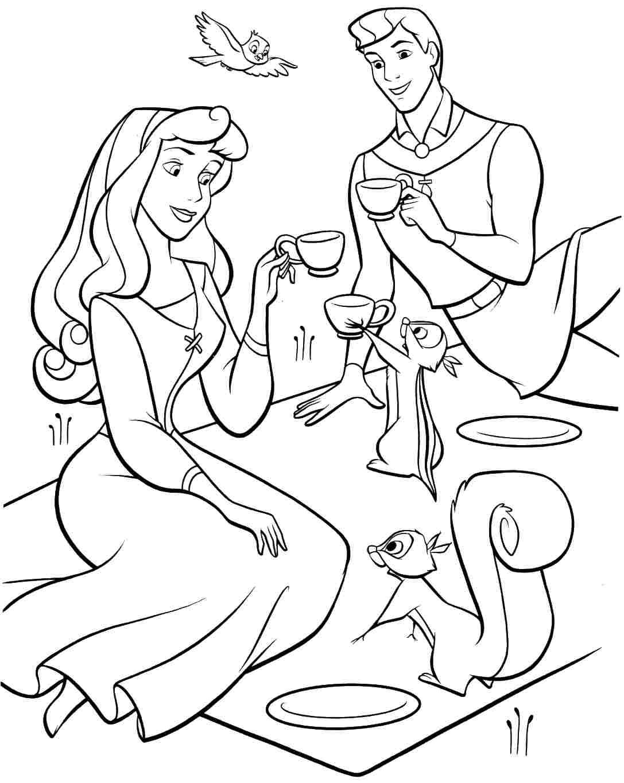 Раскраска принцесса Аврора на пикнике с Филиппом и белками ...