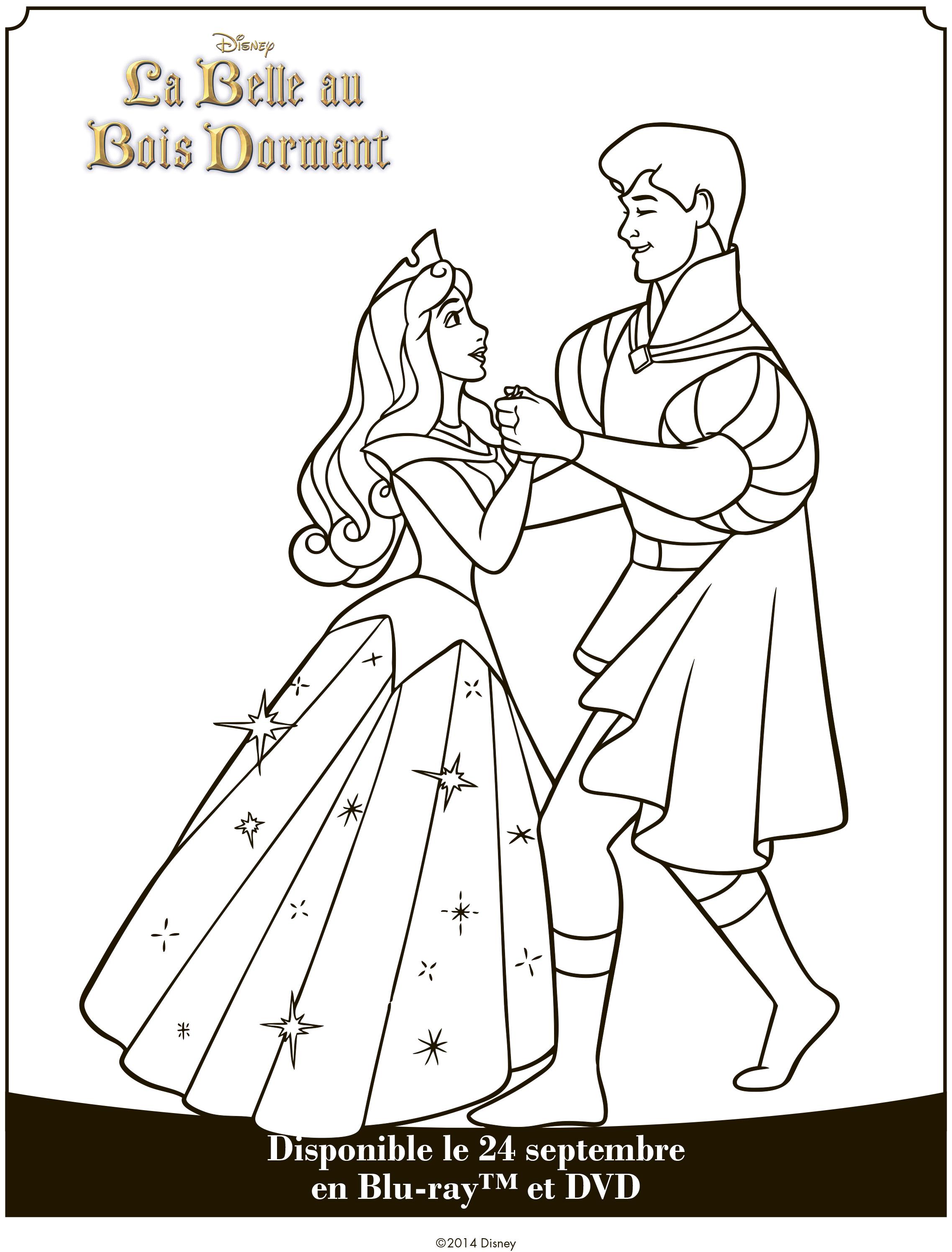 Раскраска Спящая Красавица Аврора танцует с принцем ...
