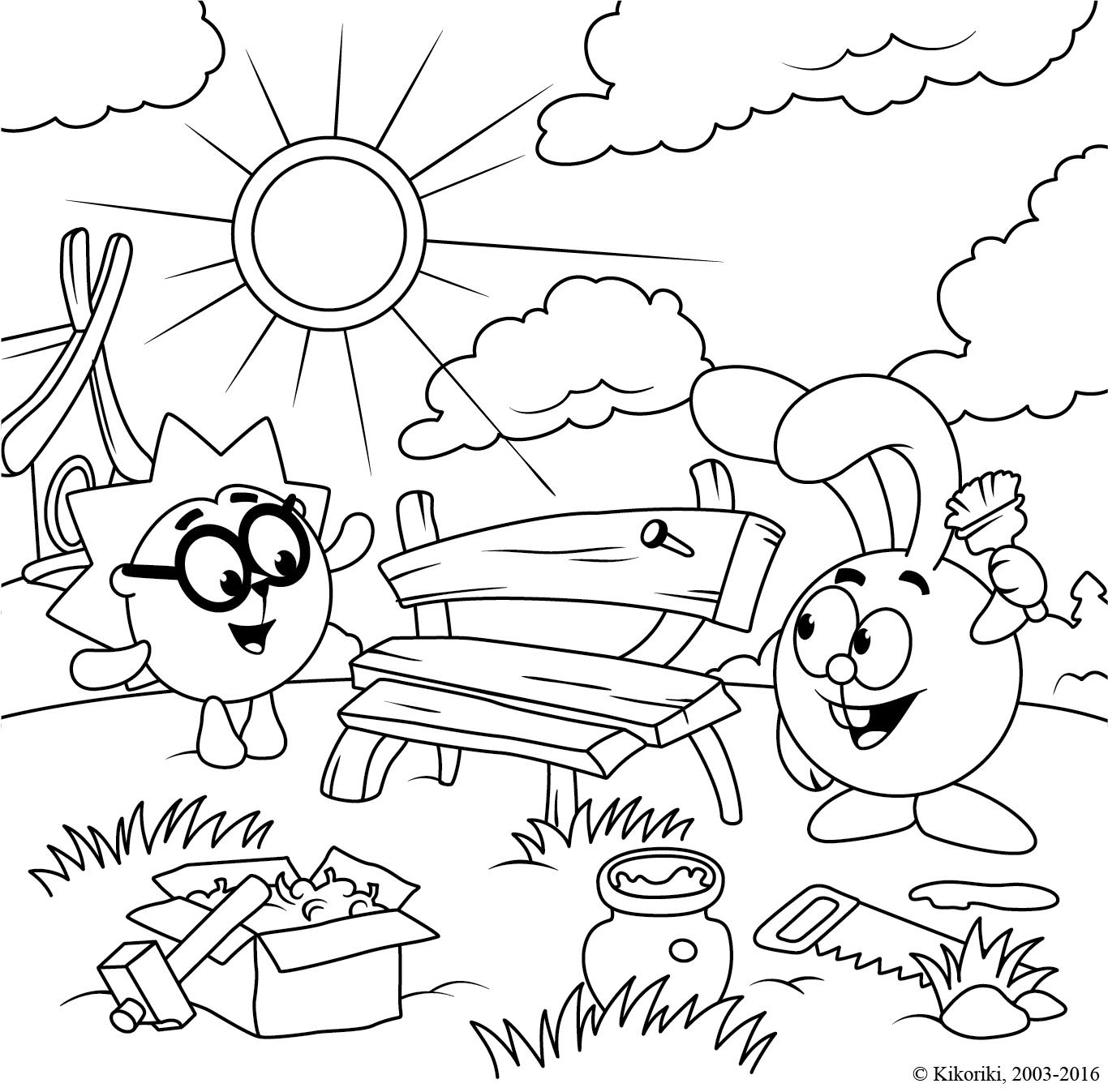 Раскраска Смешарики, Ежик и Крош построили скамейку ...