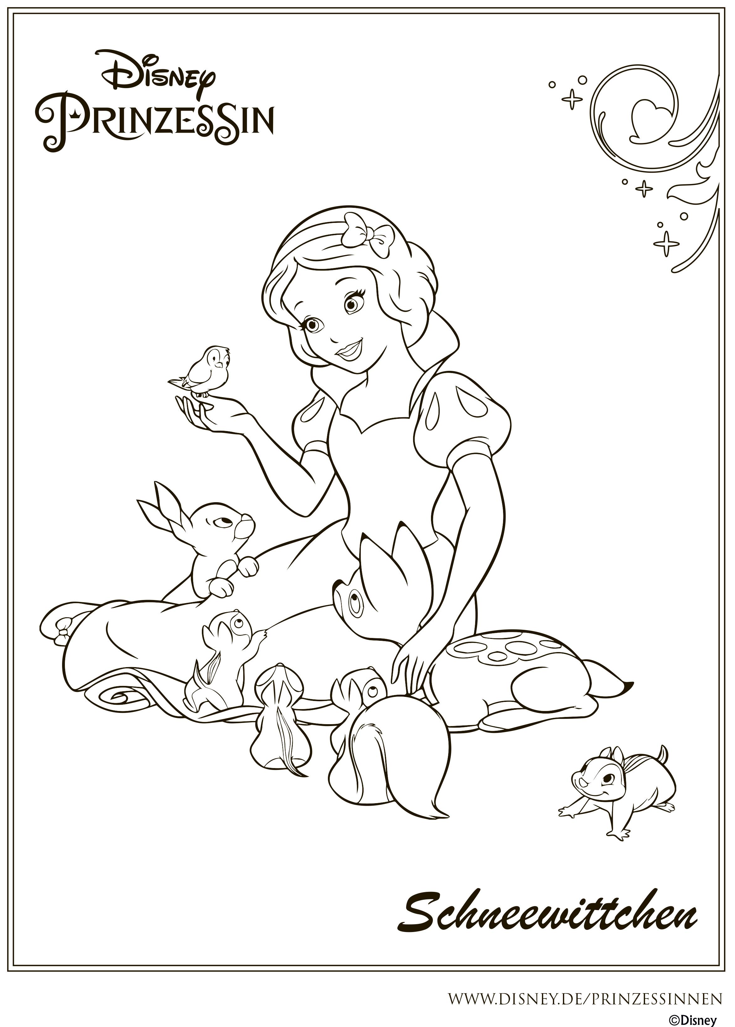 Раскраска Дисней Принцессы - Белоснежка с лесными ддузьями ...