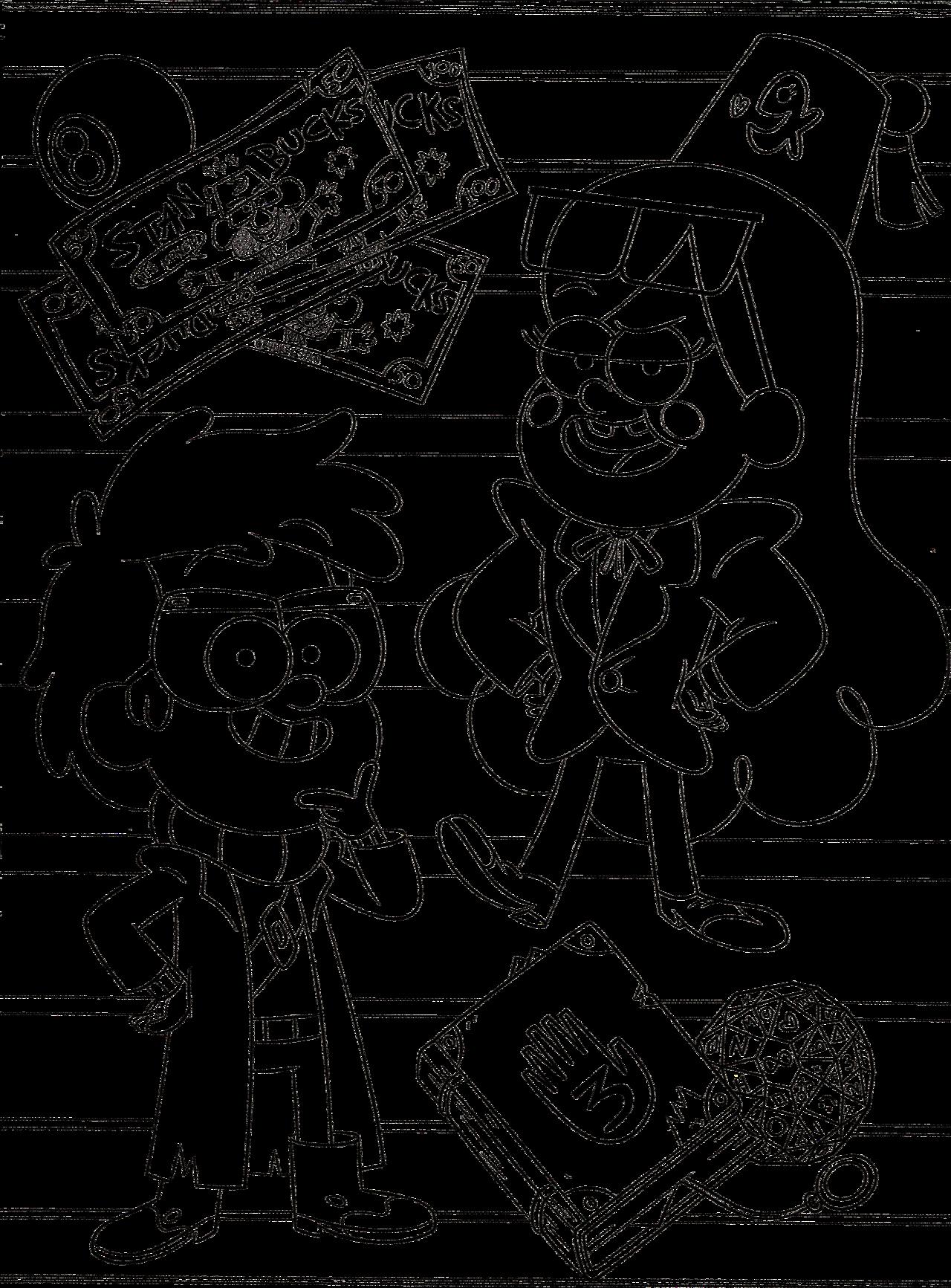 диппер и мэйбл в образах стэна и форда раскраски гравити