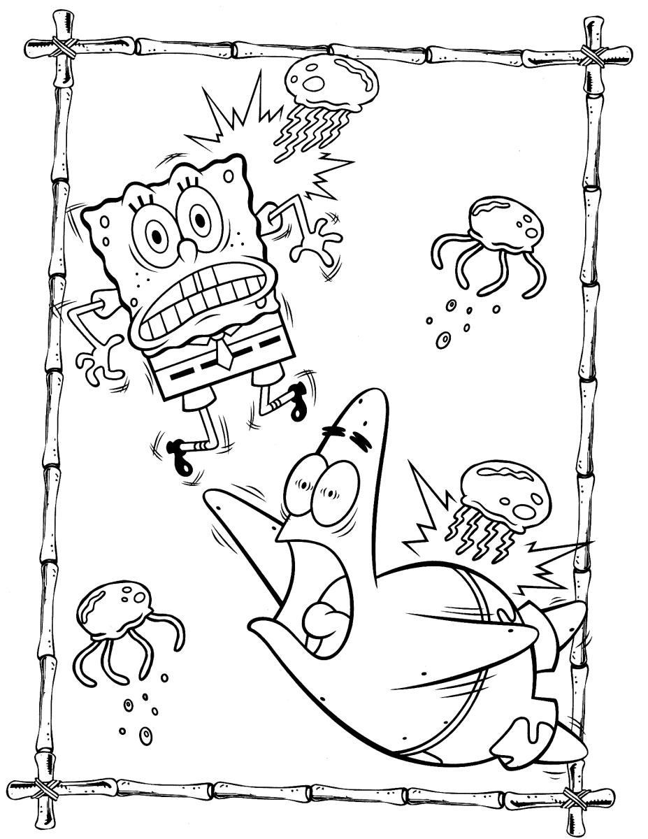 Раскраска Губка Боб, Патрик и медузы - Раскраски Губка Боб ...