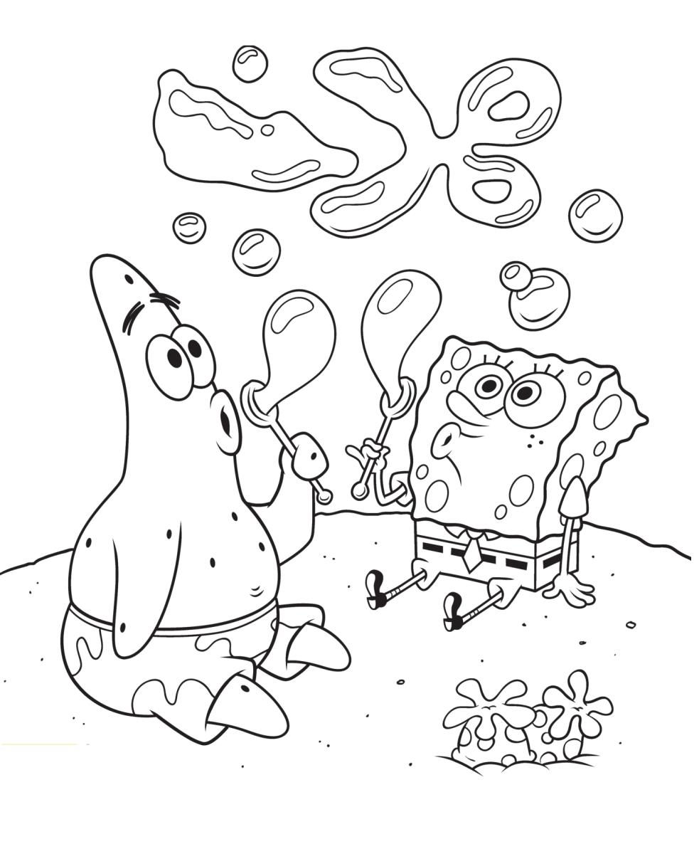 Раскраска Губка Боб и Патрик выдувают пузыри - Раскраски ...