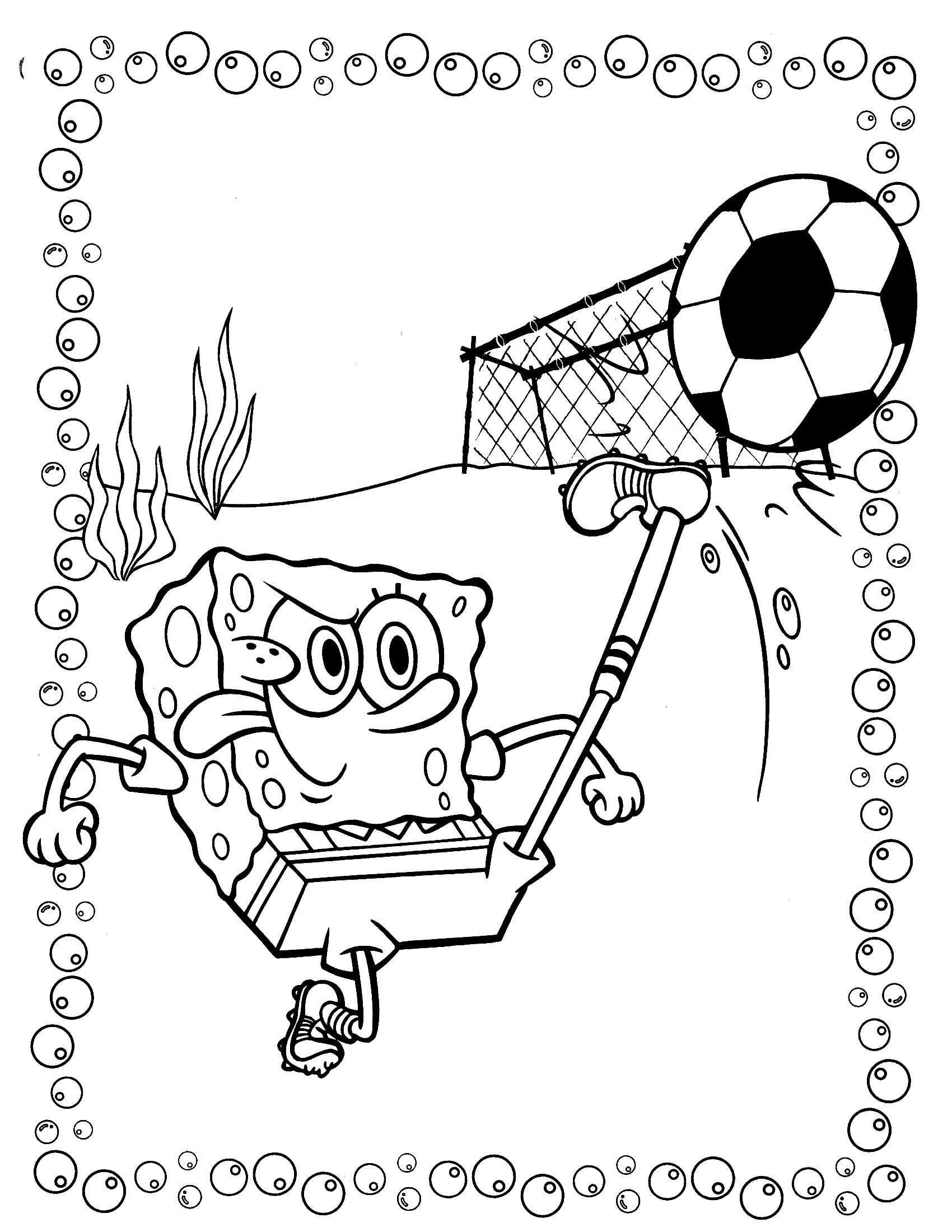 Раскраска Губка Боб и футбол - Раскраски Губка Боб ...