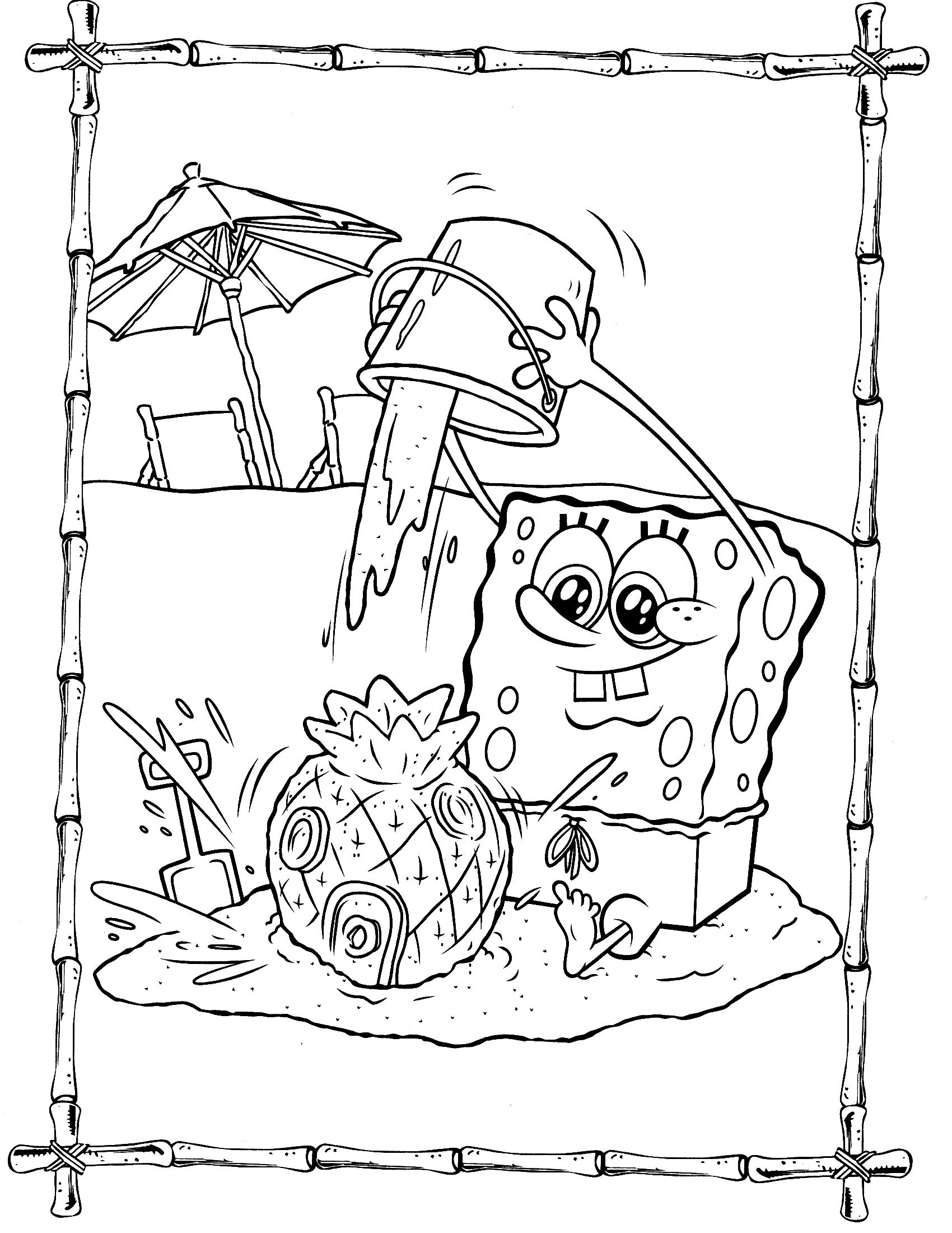 Раскраска для девочек Губка Боб - Раскраски Губка Боб ...
