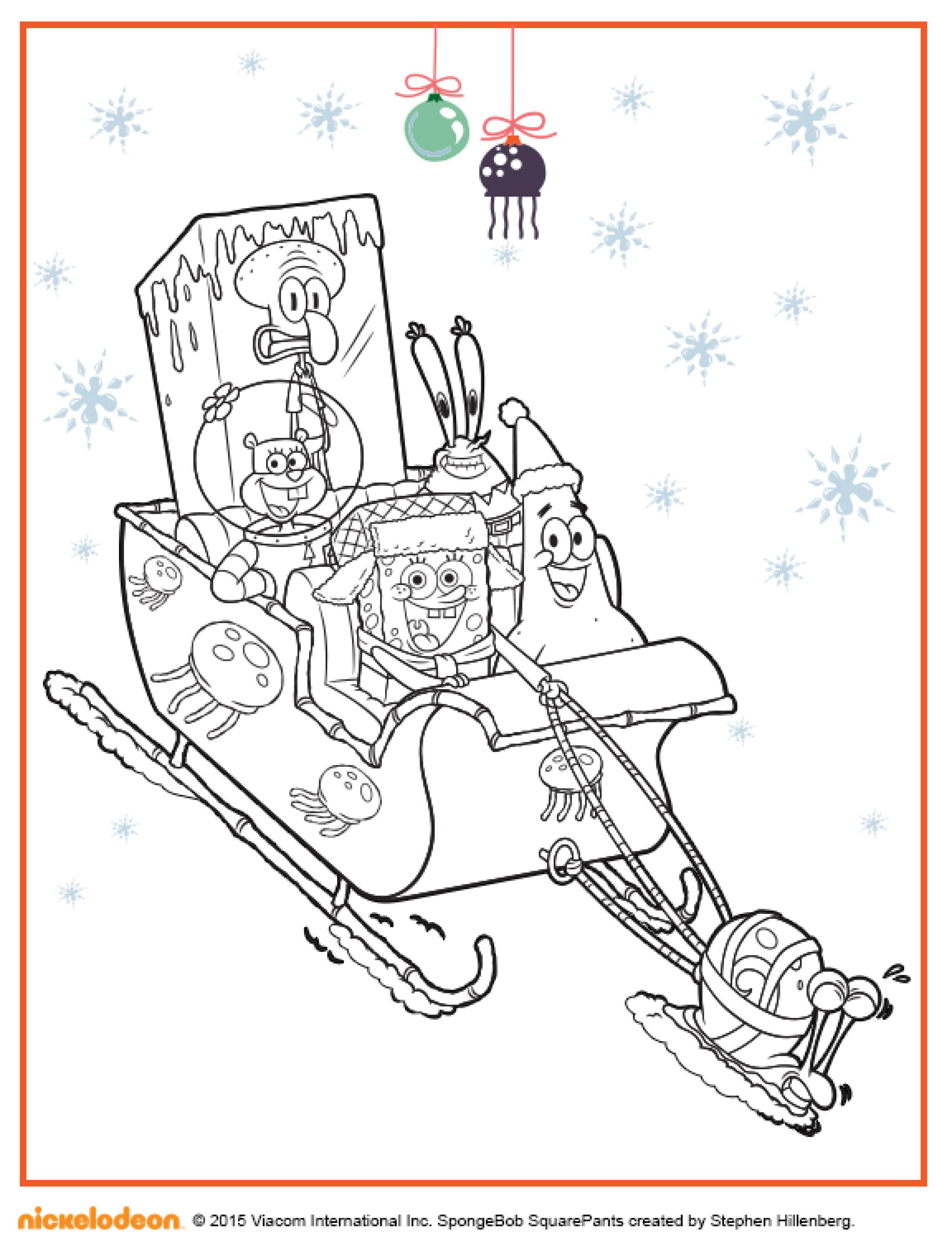 Новогодняя раскраска Губка Боб и его друзья - Раскраски ...