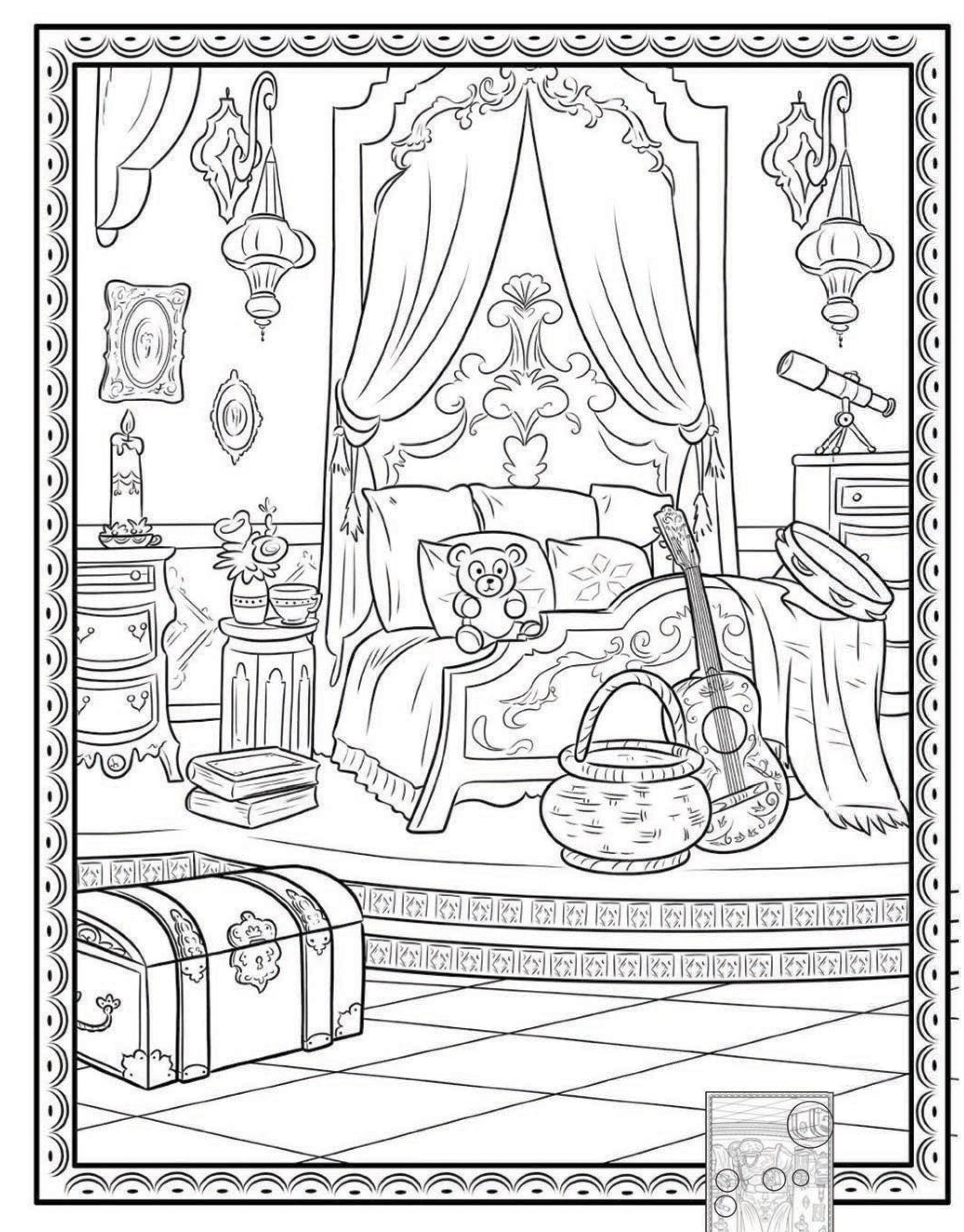Раскраска комната принцессы Елены - Раскраски Елена ...