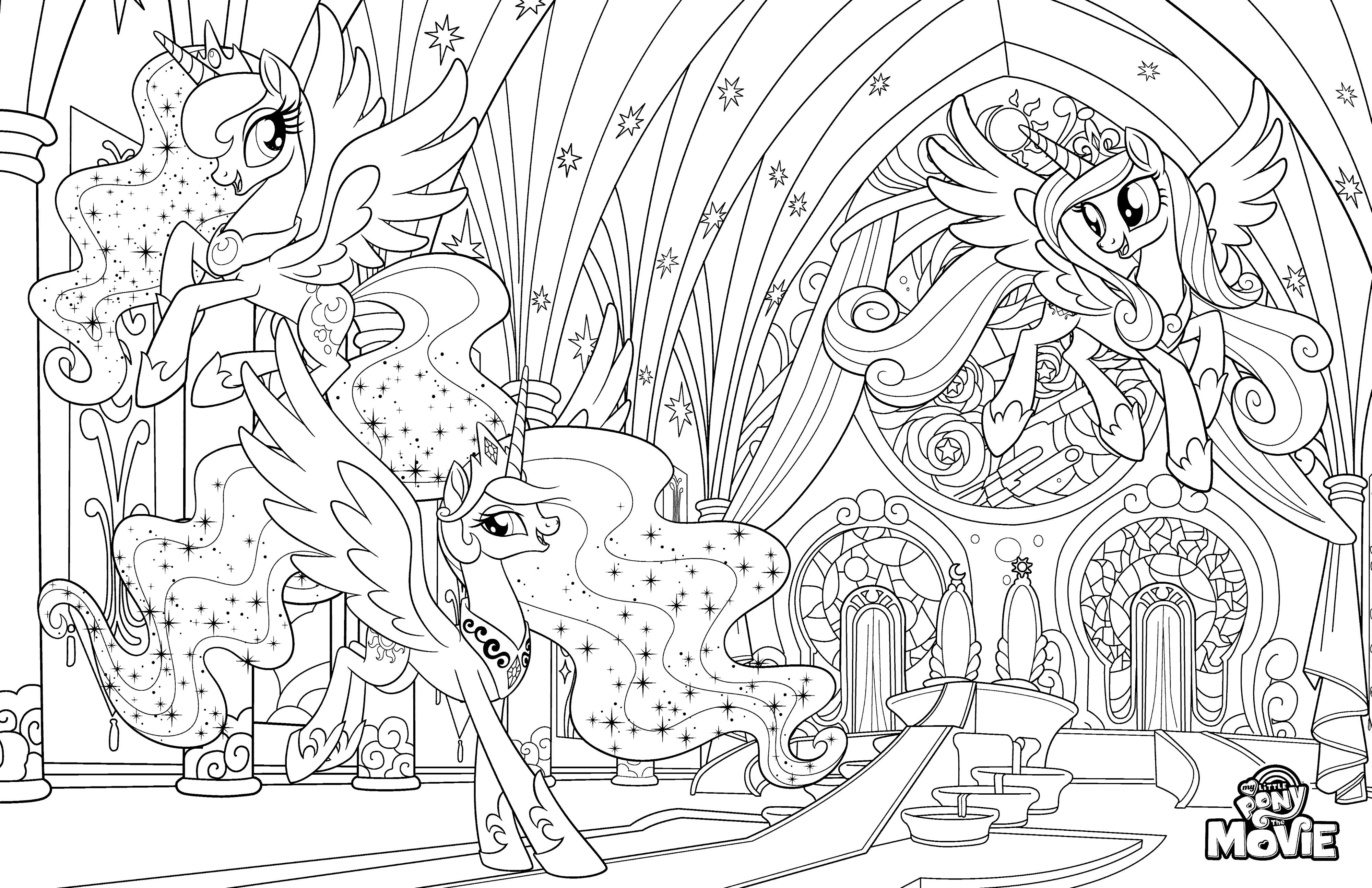 My Little Pony в кино раскраска с пони принцессами в замке ...