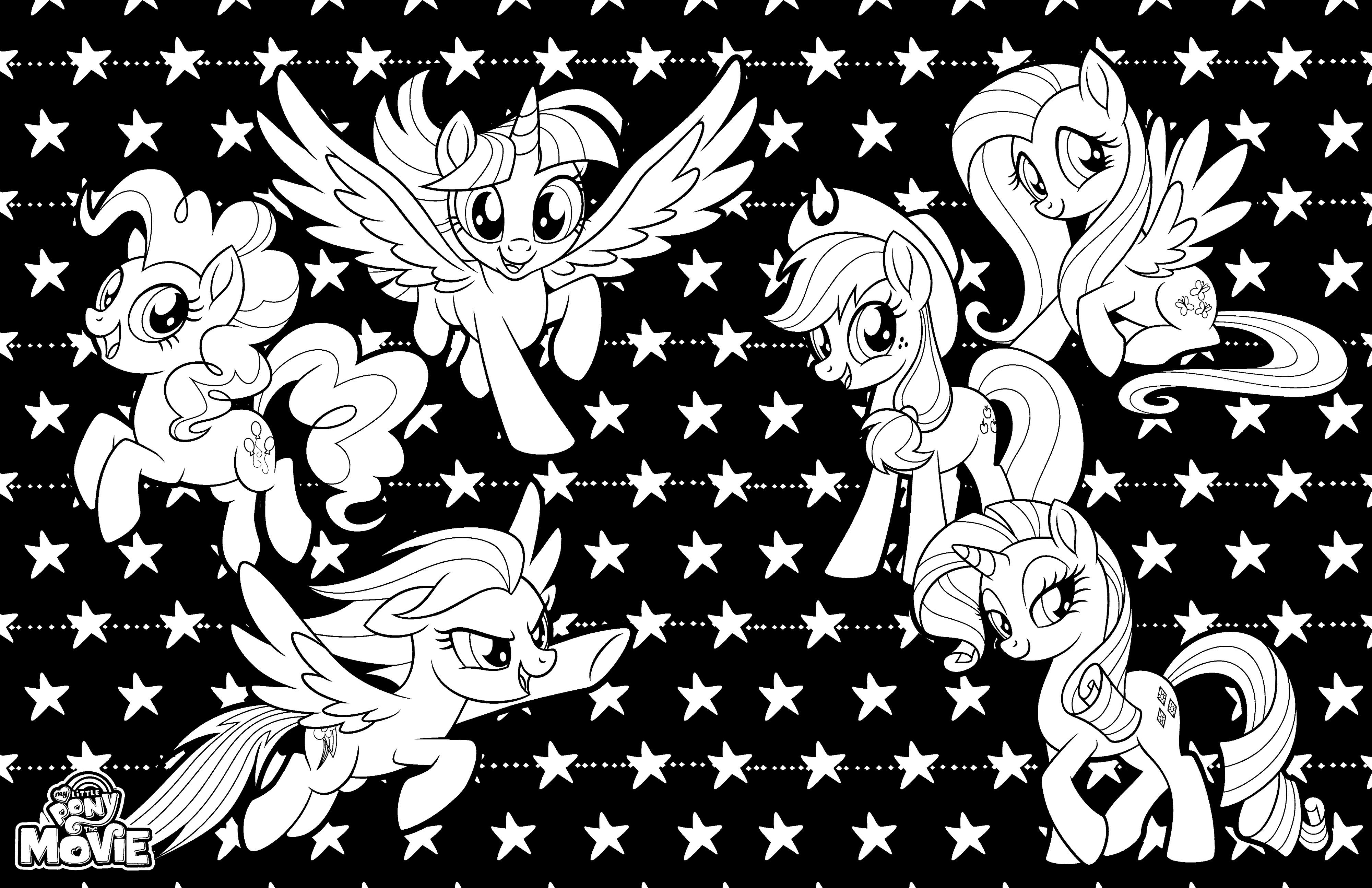 Раскраска My Little Pony в кино вся шестерка пони в сборе ...