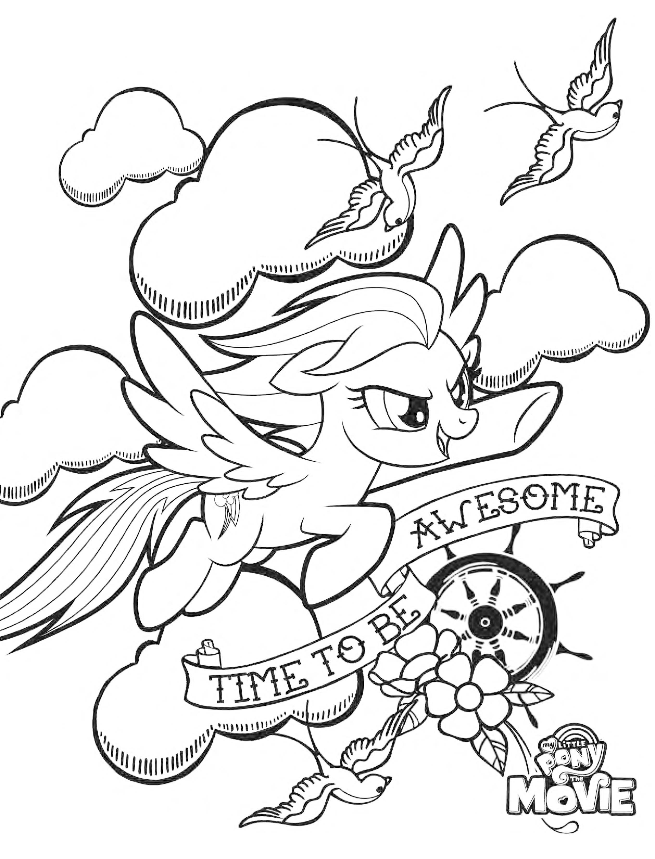 Раскраска пони Радуга из My Little Pony в кино - Раскраски ...